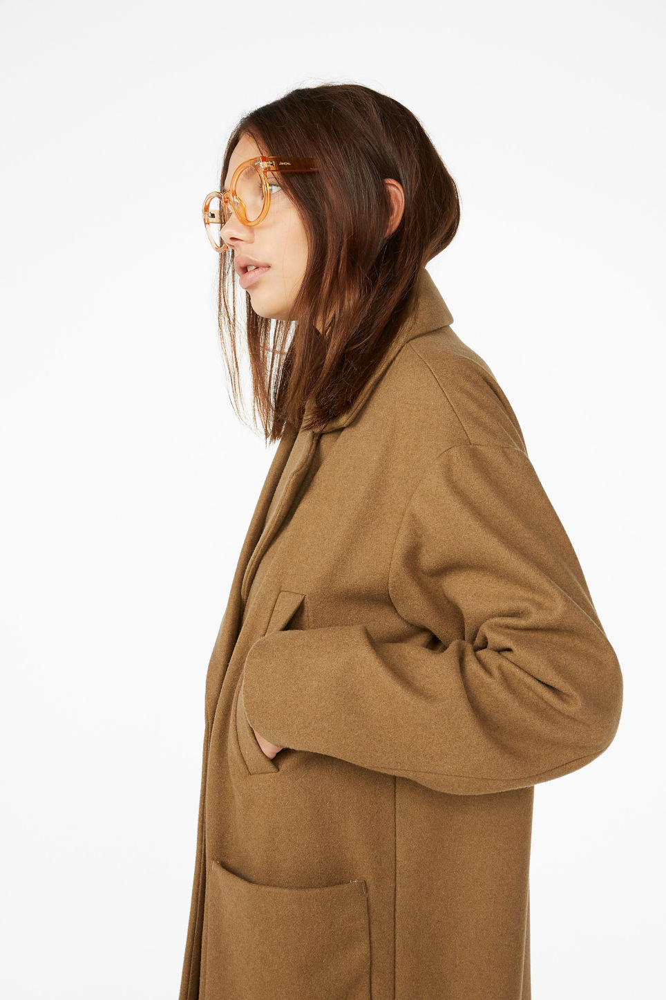 Model front image of Monki double-breasted wool coat in beige