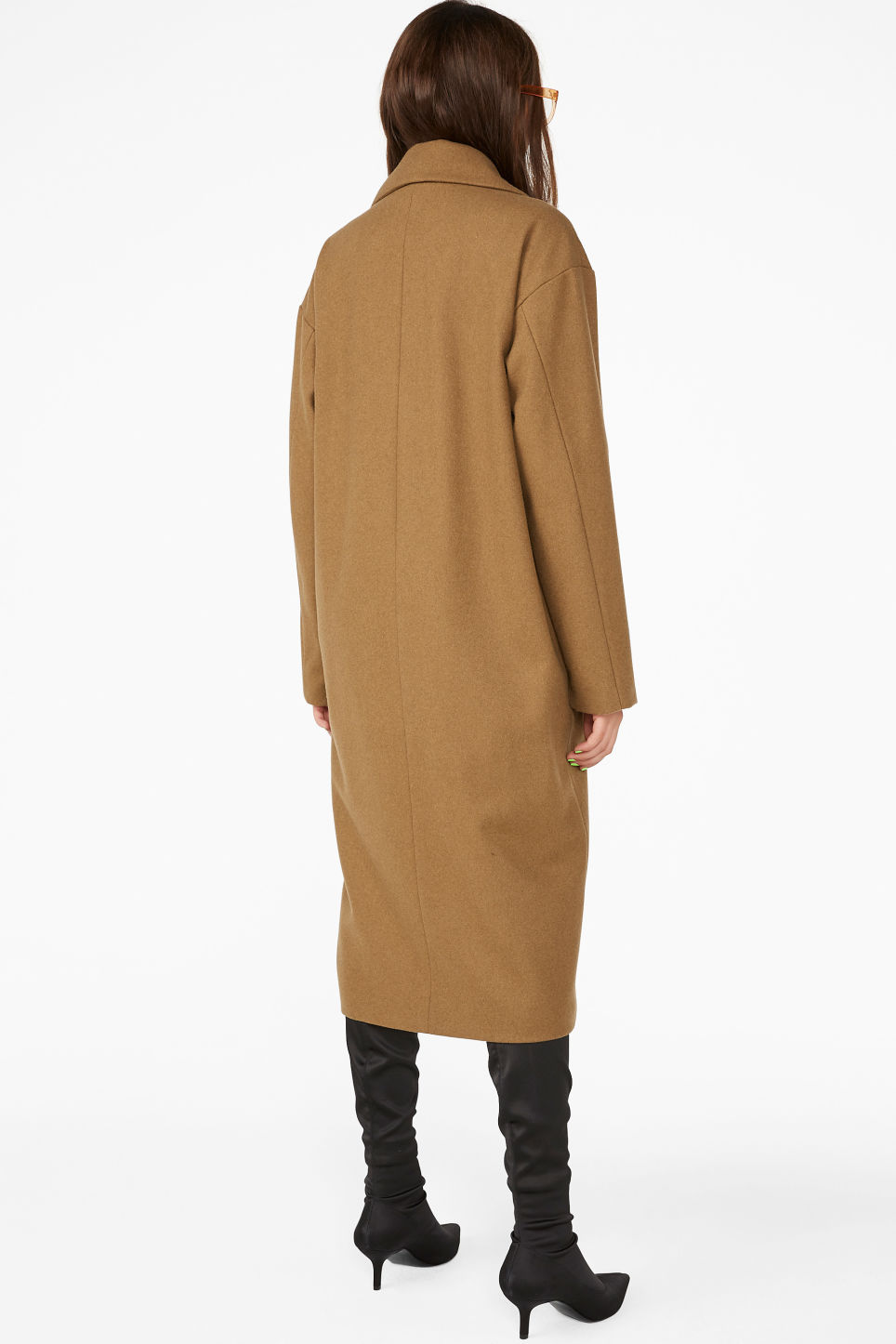 Model back image of Monki double-breasted wool coat in beige