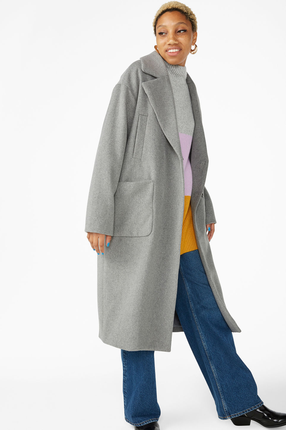 Model front image of Monki double-breasted wool coat in grey
