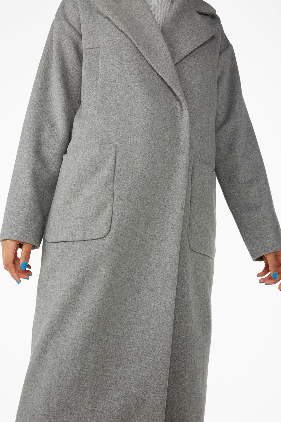 Model side image of Monki double-breasted wool coat in grey
