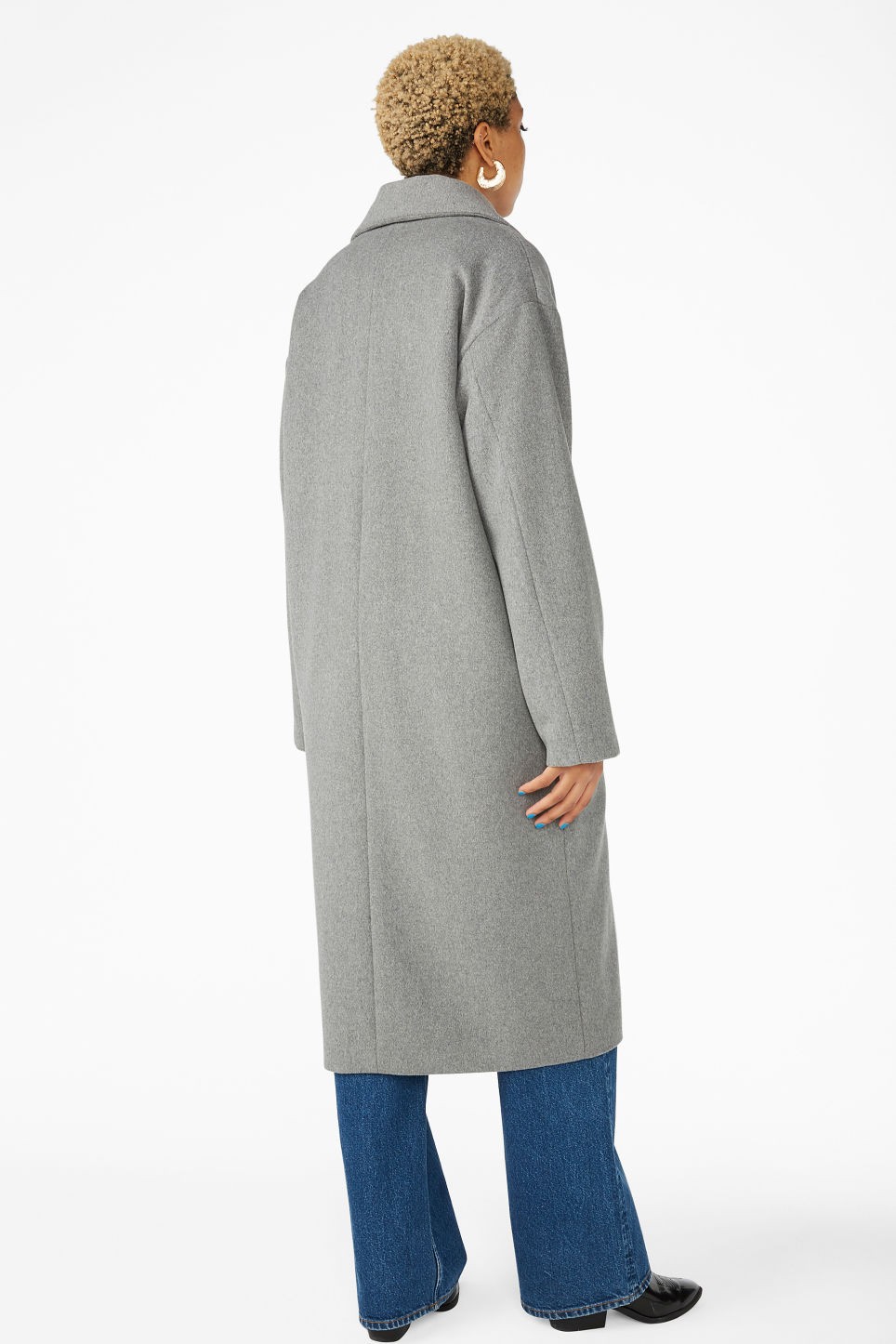 Model back image of Monki double-breasted wool coat in grey