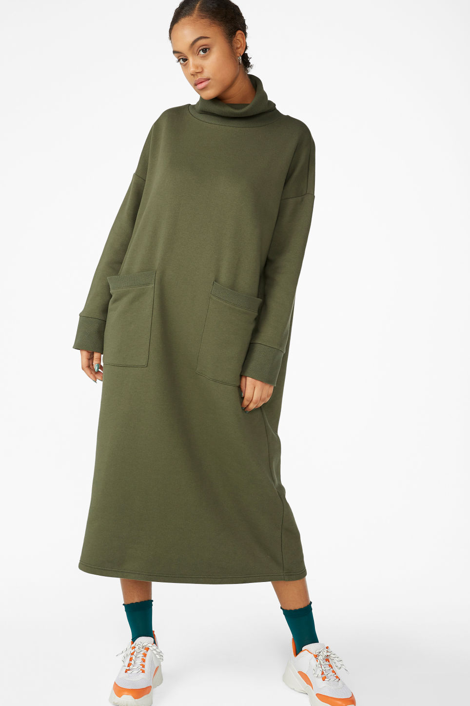 Model front image of Monki tall turtleneck dress in green