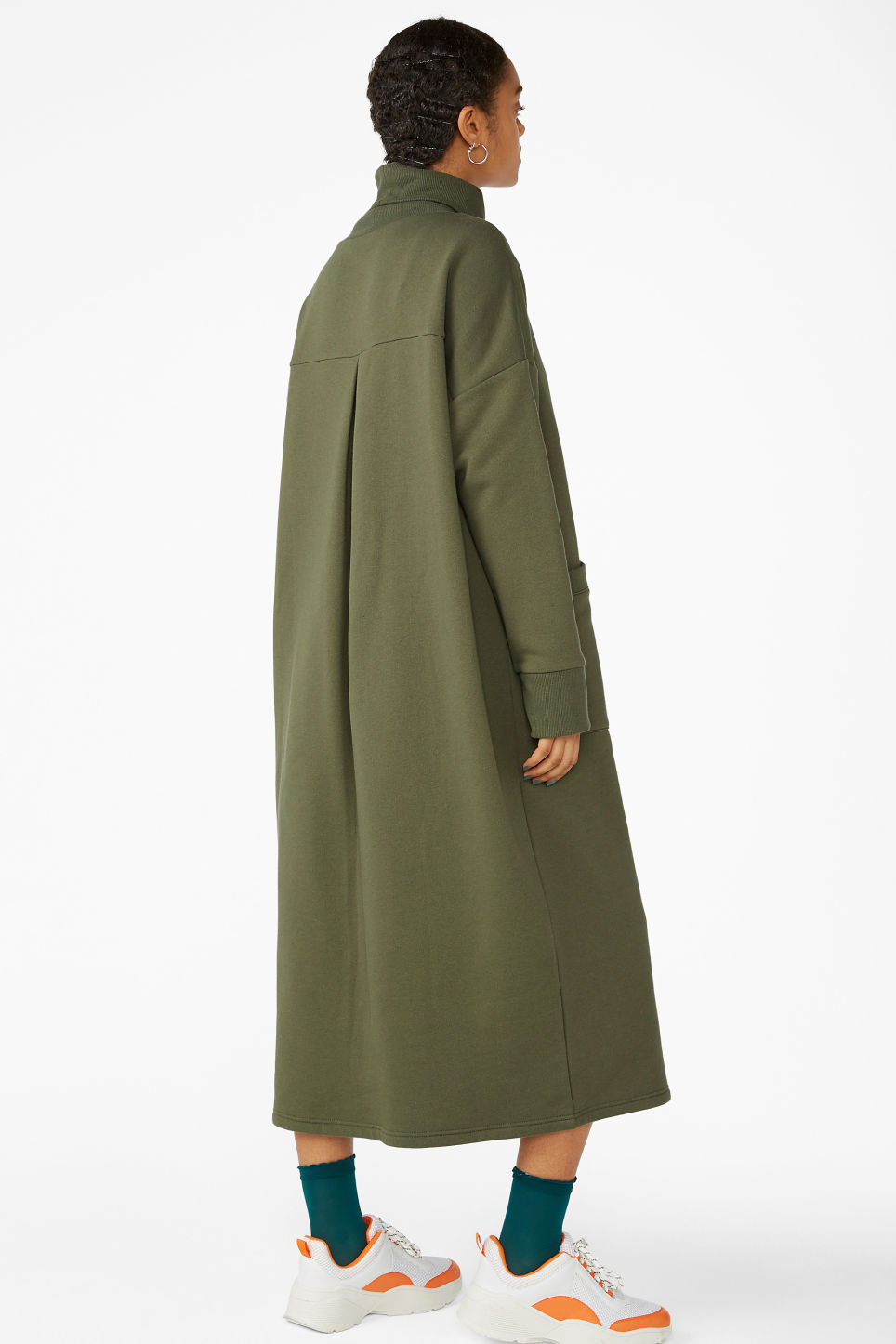 Model back image of Monki tall turtleneck dress in green