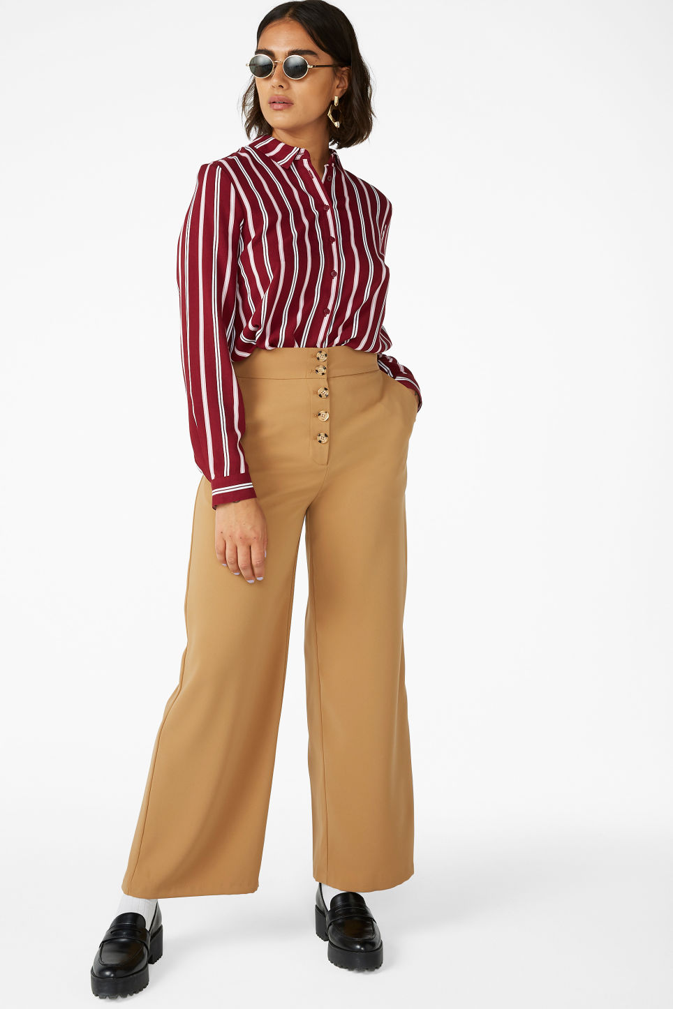 Model front image of Monki wide high-waist trousers in beige
