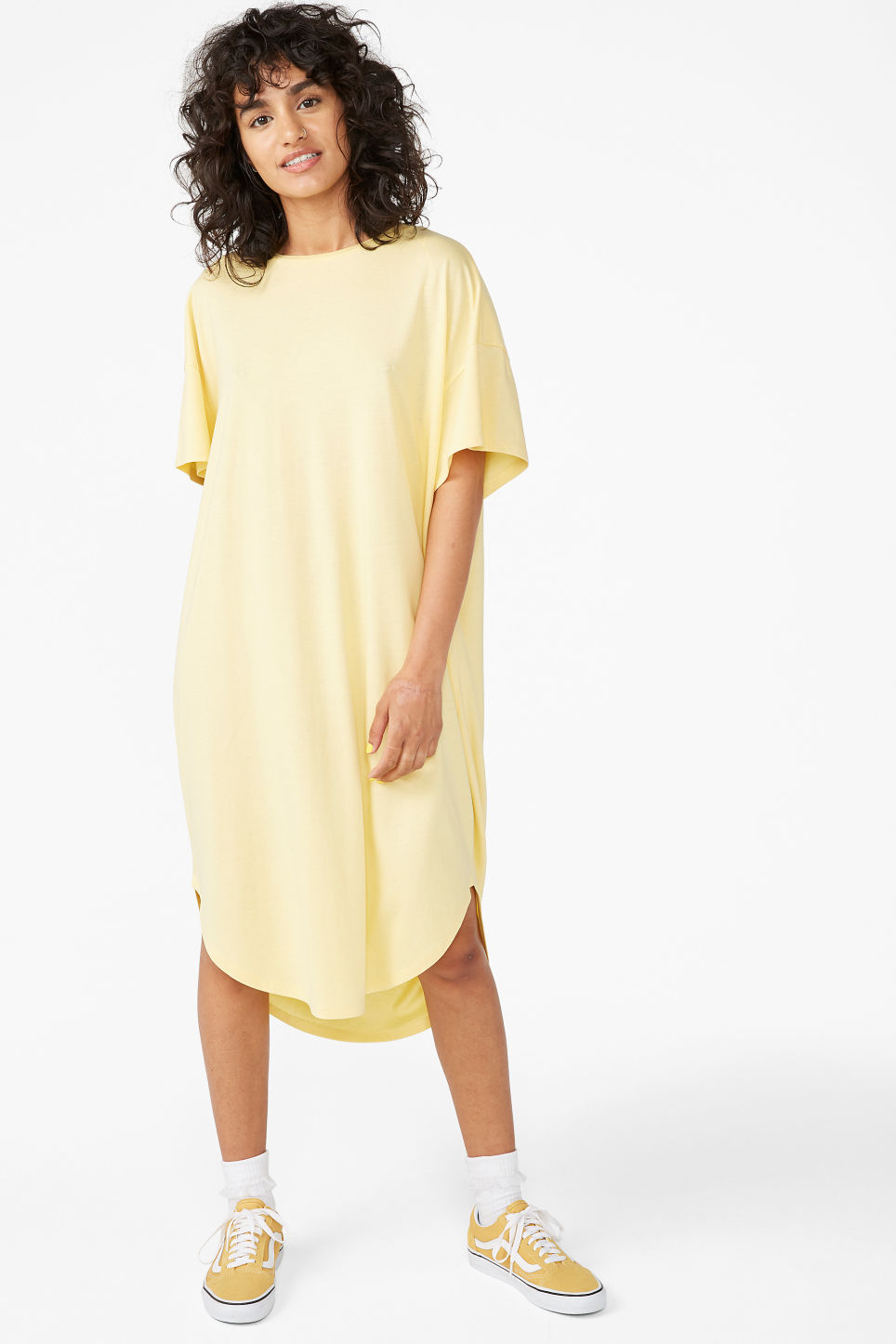 T Pale Monki Dresses Shirt Yellow Dress Oversized ZukXPOi