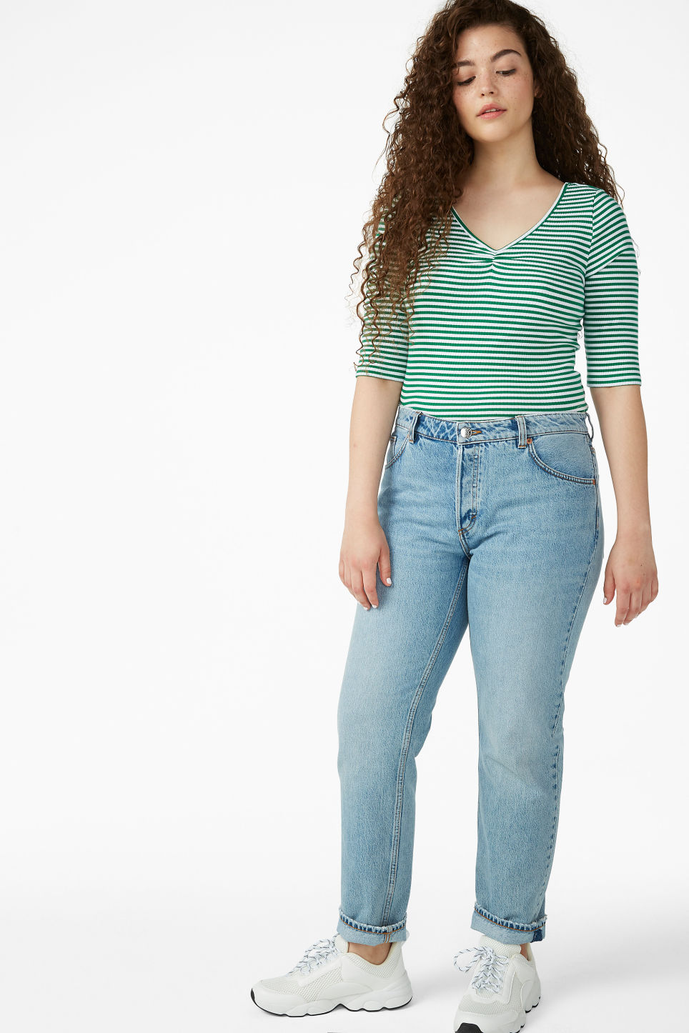 Model side image of Monki bow-in-the-back top  in green