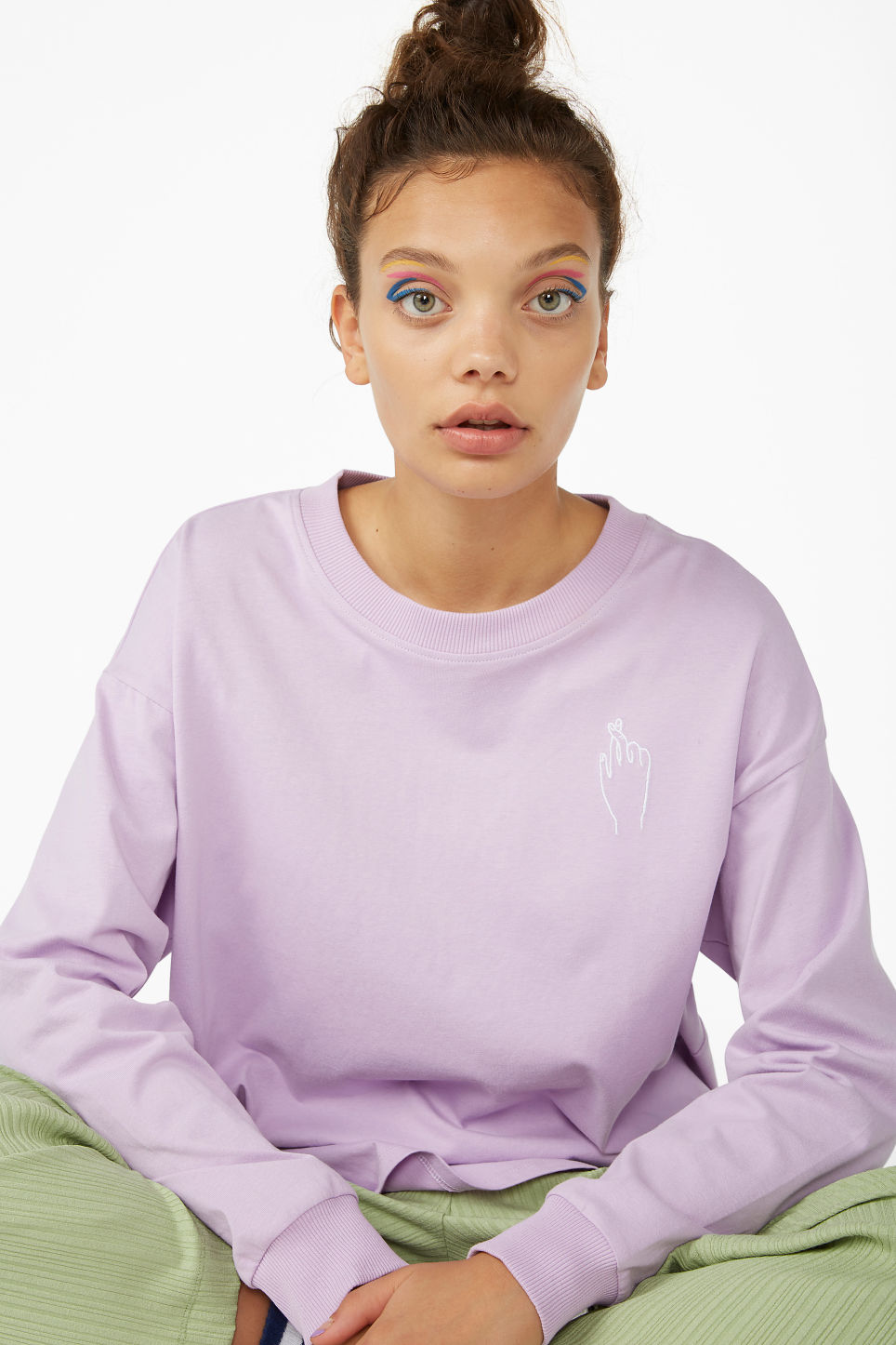 Model front image of Monki long-sleeved top in purple