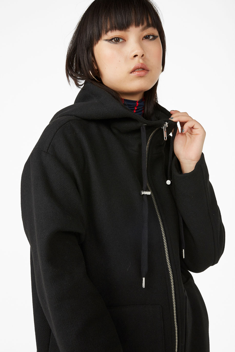 Model front image of Monki long hood jacket in black