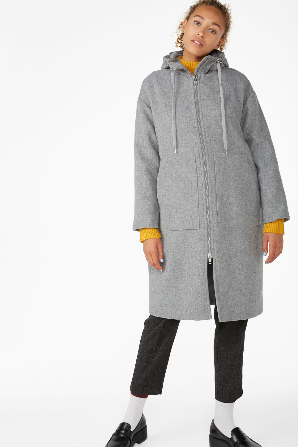 Model front image of Monki long hood jacket in grey