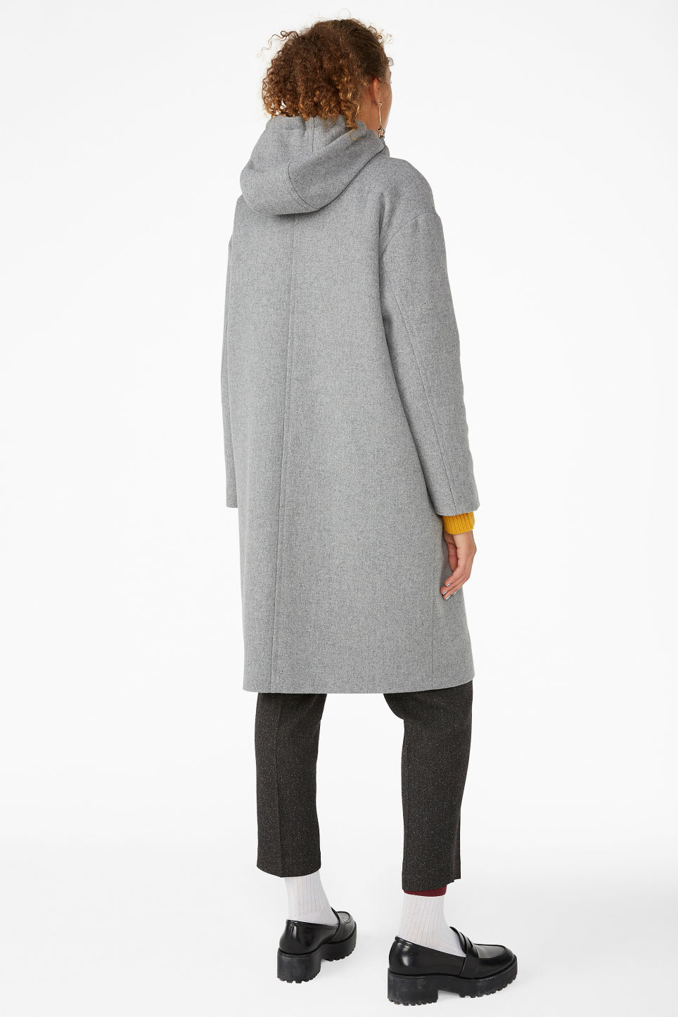 Model back image of Monki long hood jacket in grey