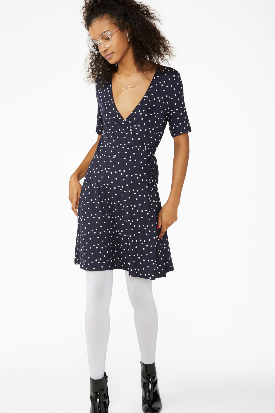 Model front image of Monki v-neck wrap dress in blue