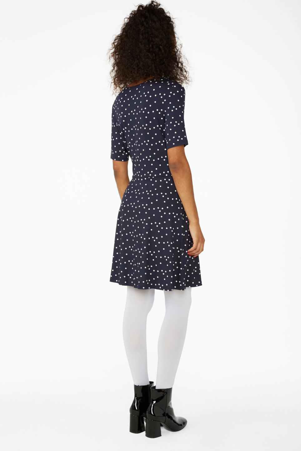 Model back image of Monki v-neck wrap dress in blue