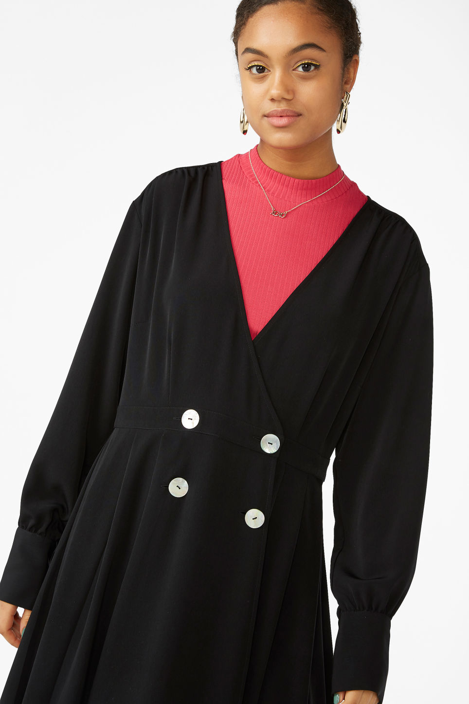 Model front image of Monki double-breasted wrap dress in black