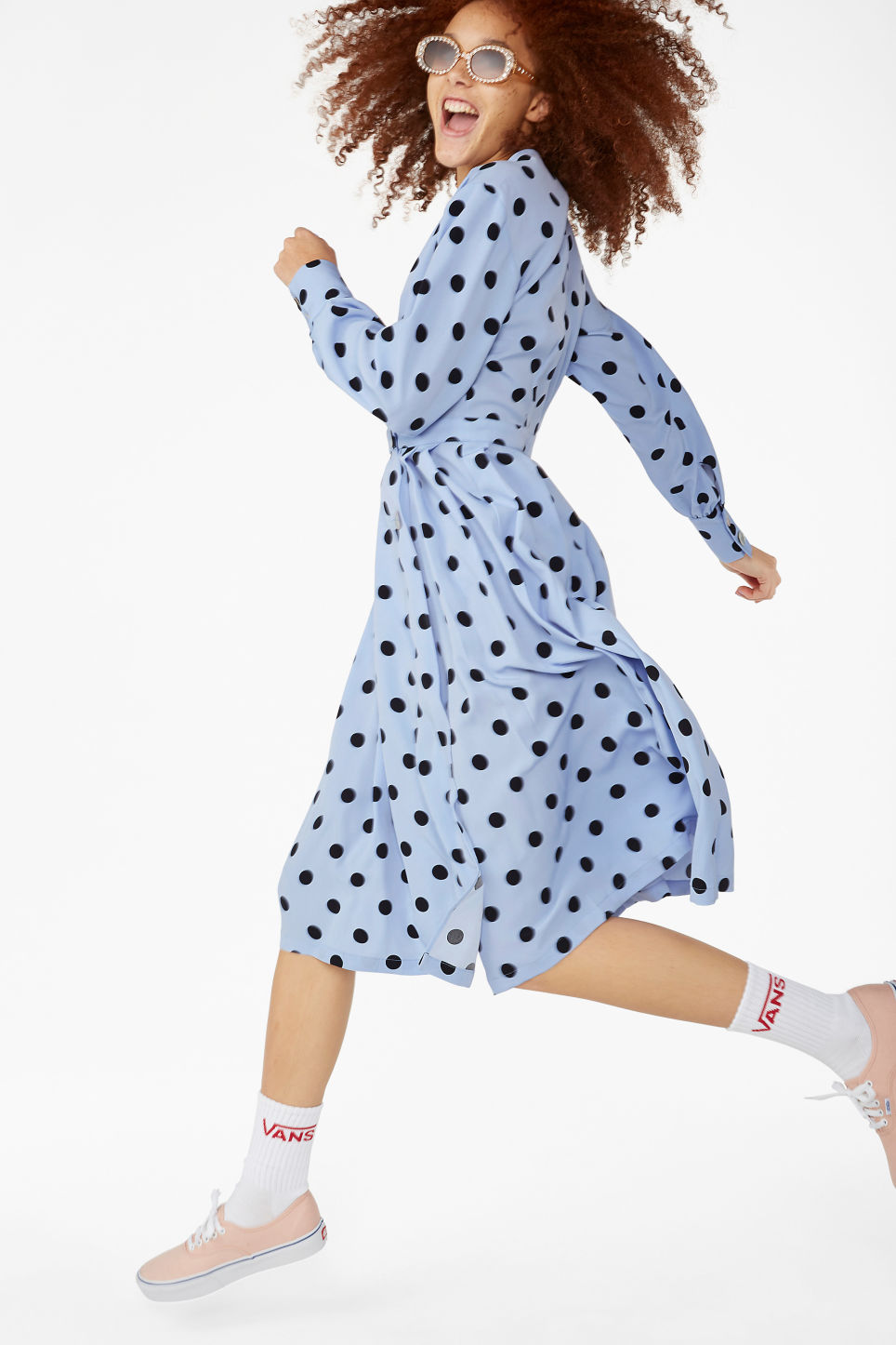 Model front image of Monki double-breasted wrap dress in blue