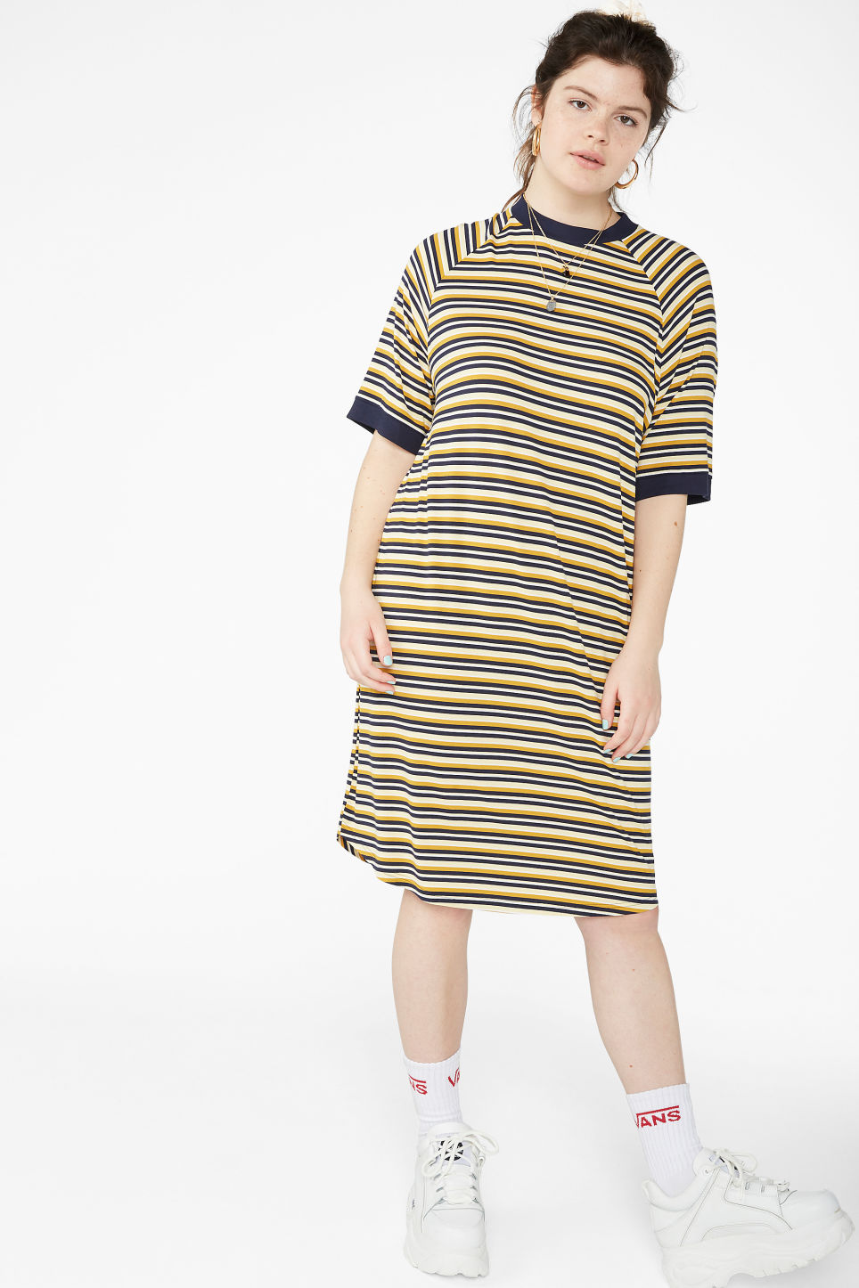 ff9f167a0eb Model front image of Monki oversized t-shirt dress in blue