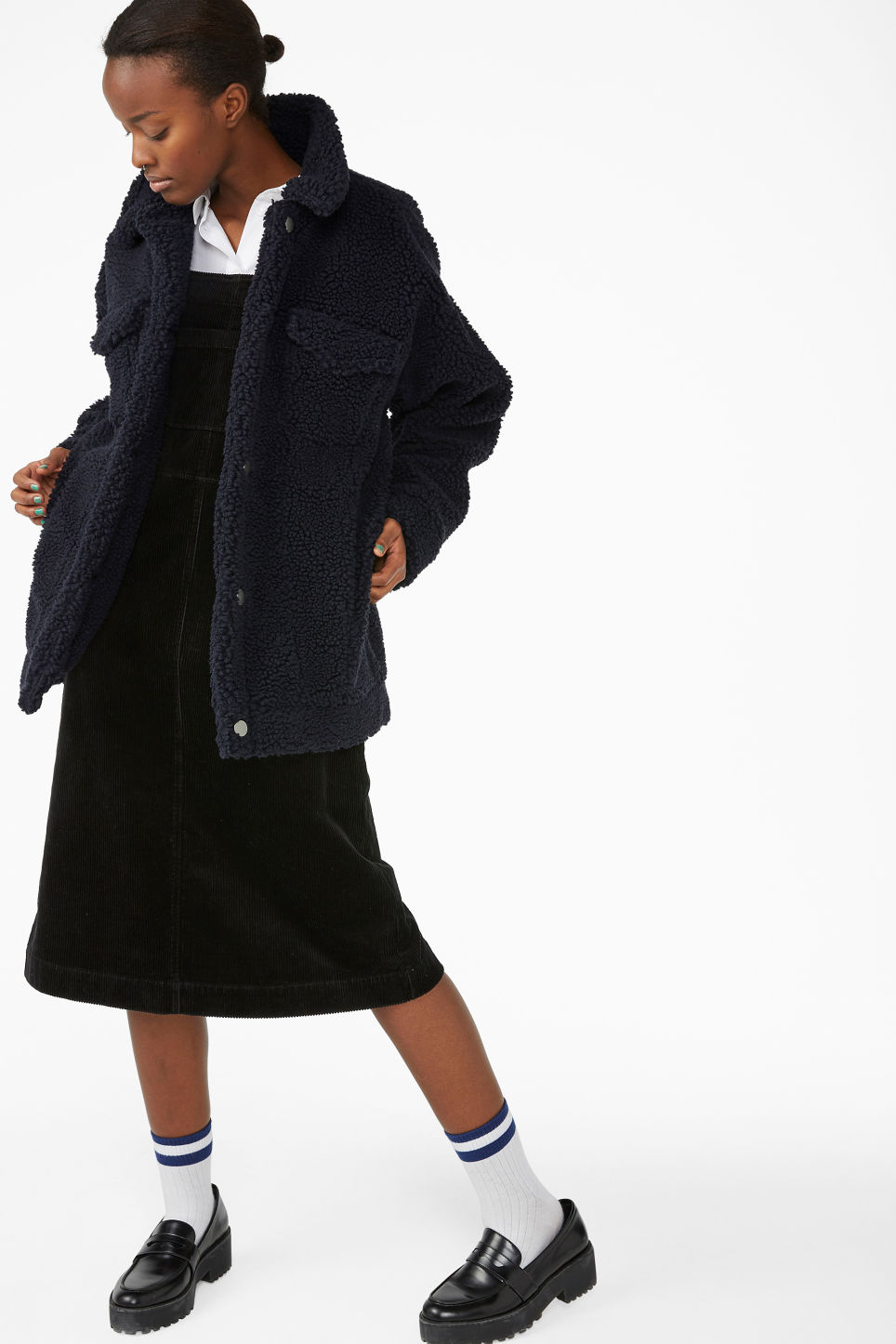 Model front image of Monki faux shearling utility jacket in blue