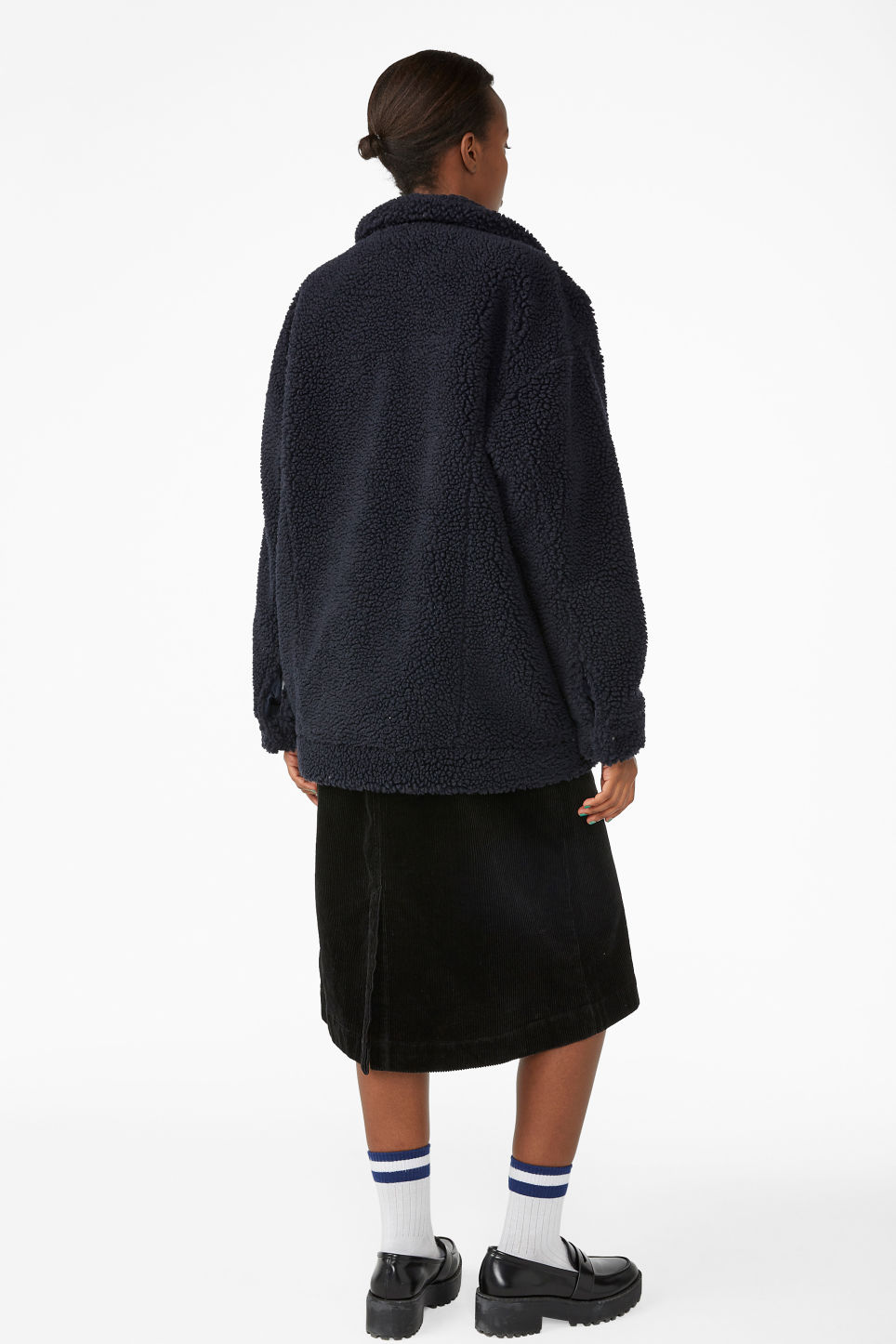 Model back image of Monki faux shearling utility jacket in blue