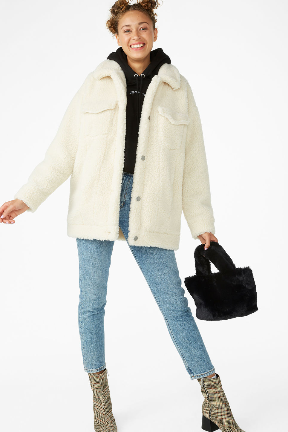 Model front image of Monki faux shearling utility jacket in white
