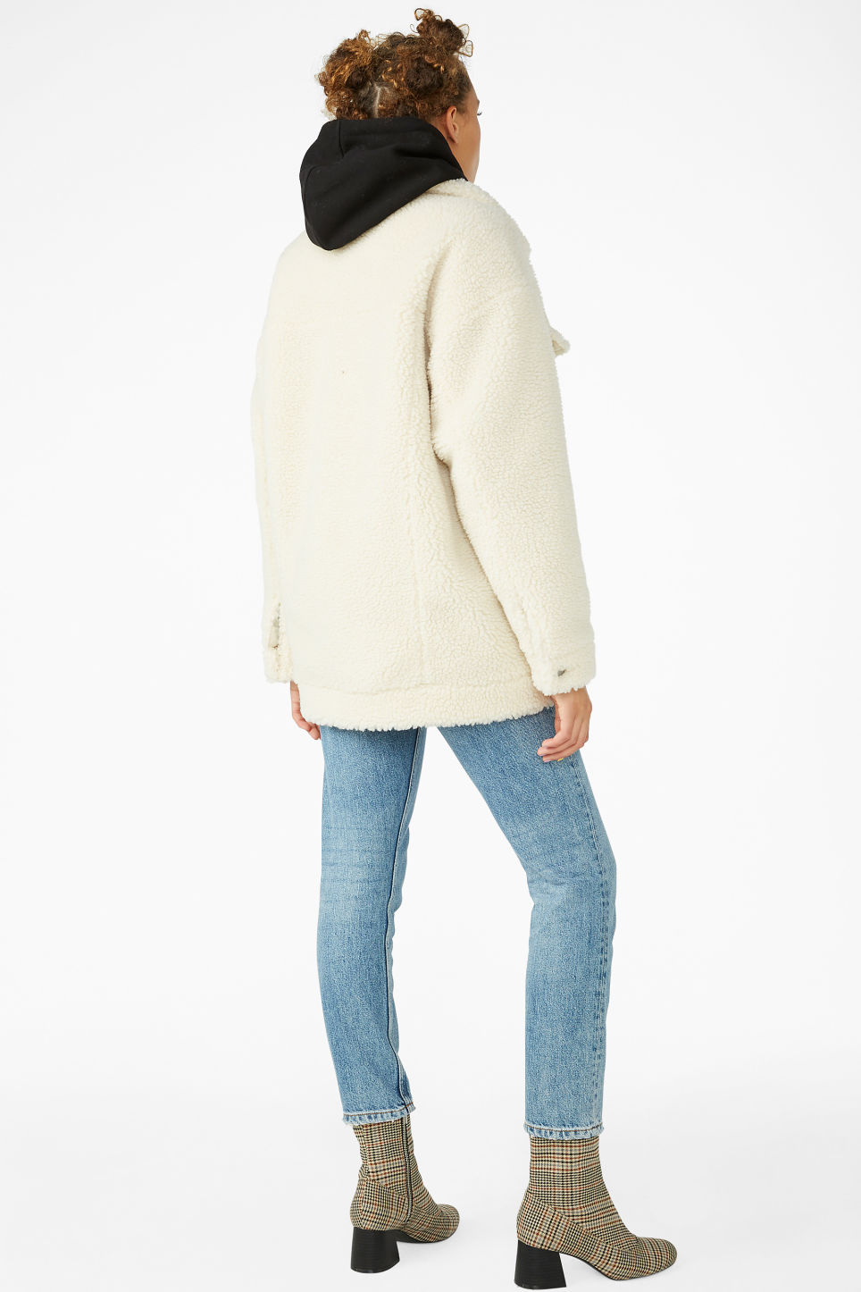 Model back image of Monki faux shearling utility jacket in white