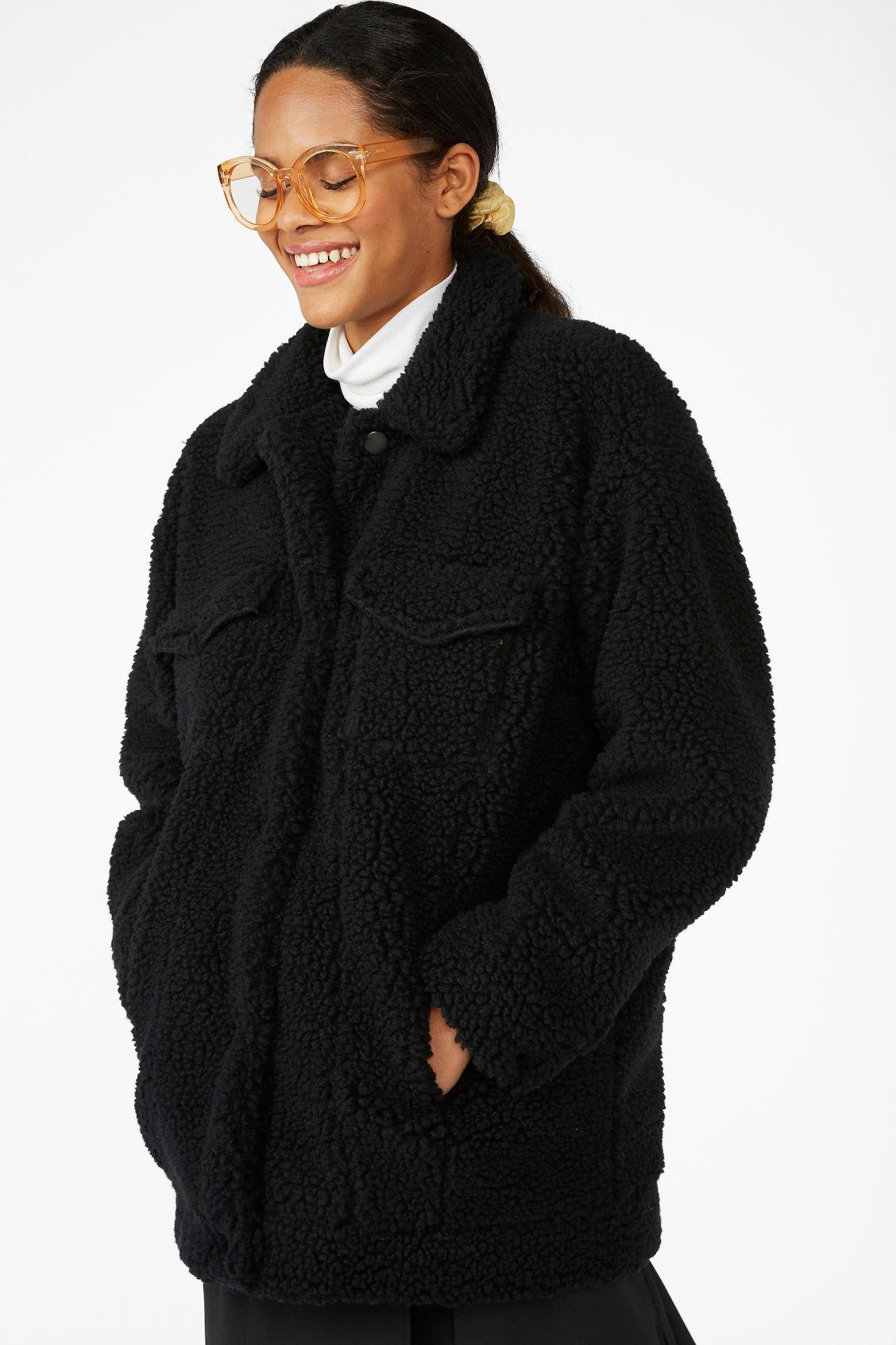 a5145e35d4518 Faux shearling utility jacket - Black magic - Coats   Jackets - Monki