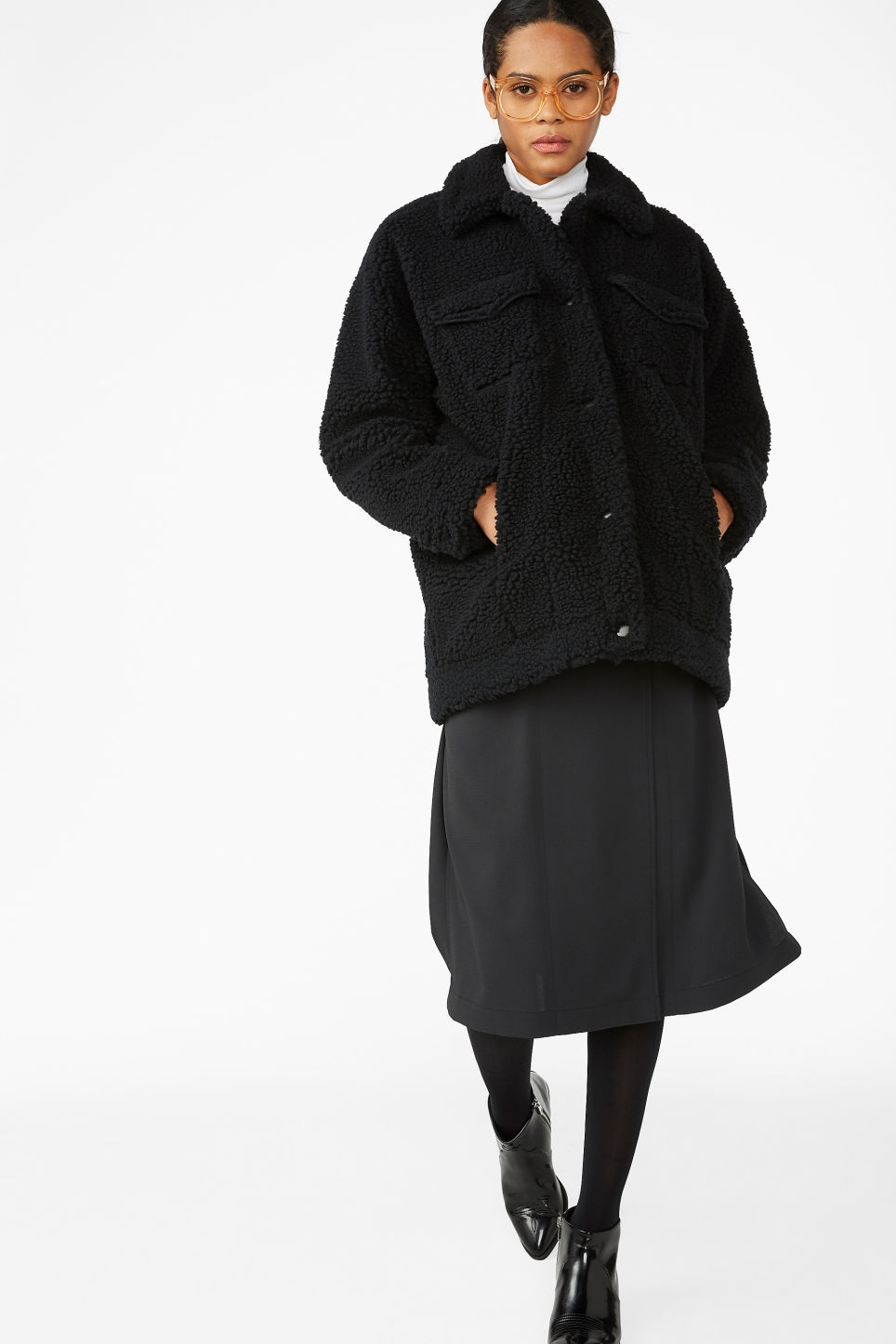 Model front image of Monki faux shearling utility jacket in black