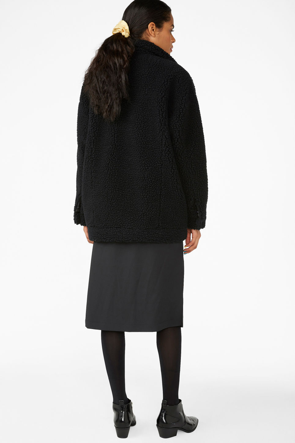 Model back image of Monki faux shearling utility jacket in black