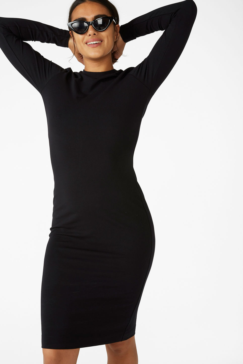 Model front image of Monki long-sleeve bodycon dress in black