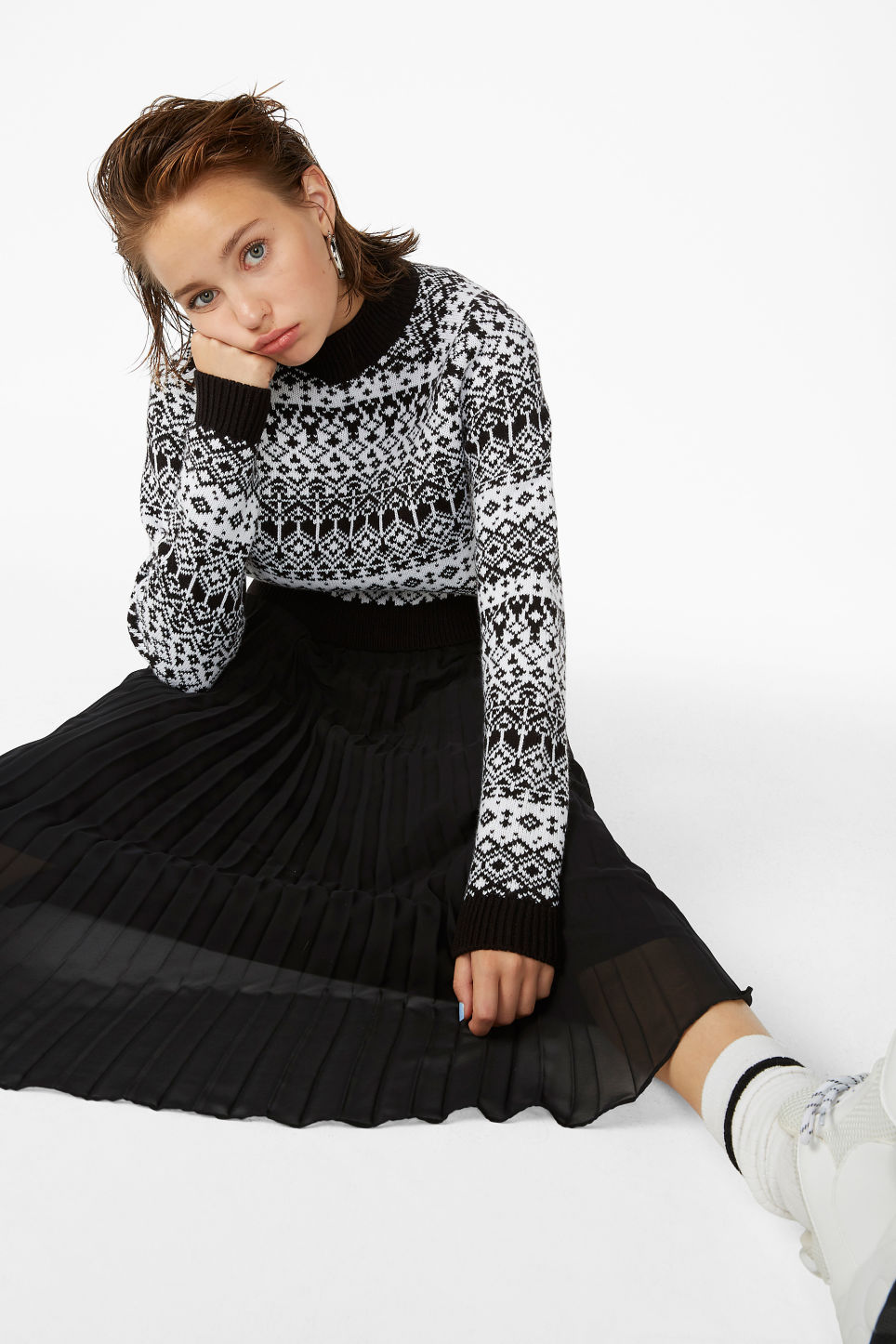 Model front image of Monki flowy midi skirt in black