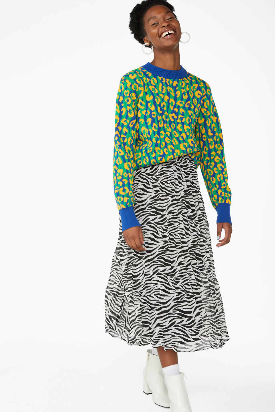 Model front image of Monki pleated midi skirt in black
