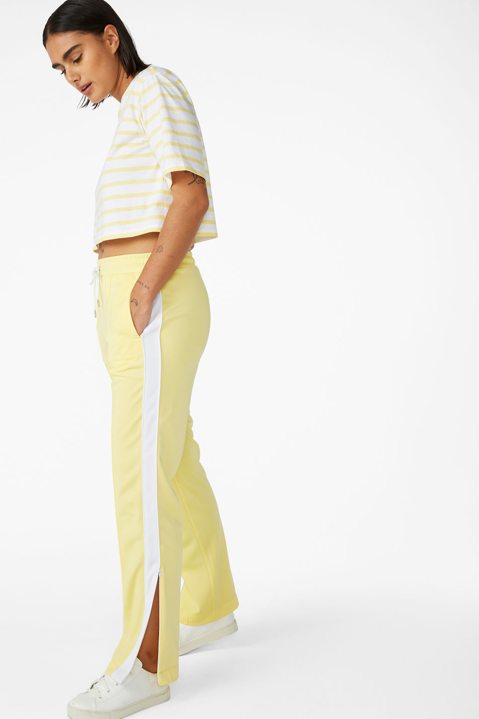 Model front image of Monki tailored track pants in yellow