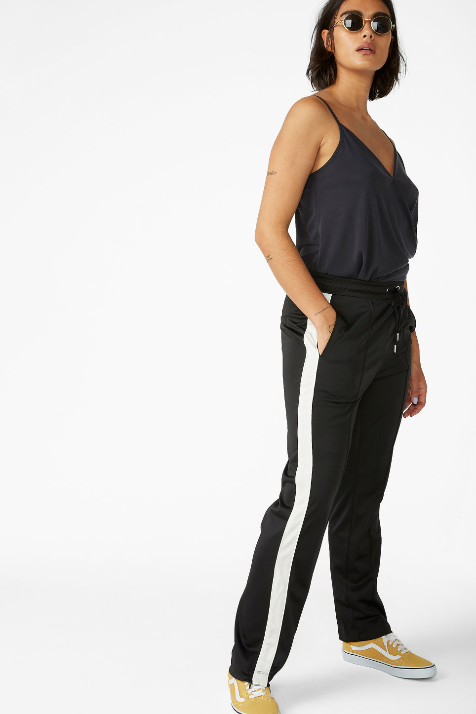 Model front image of Monki tailored track pants in black