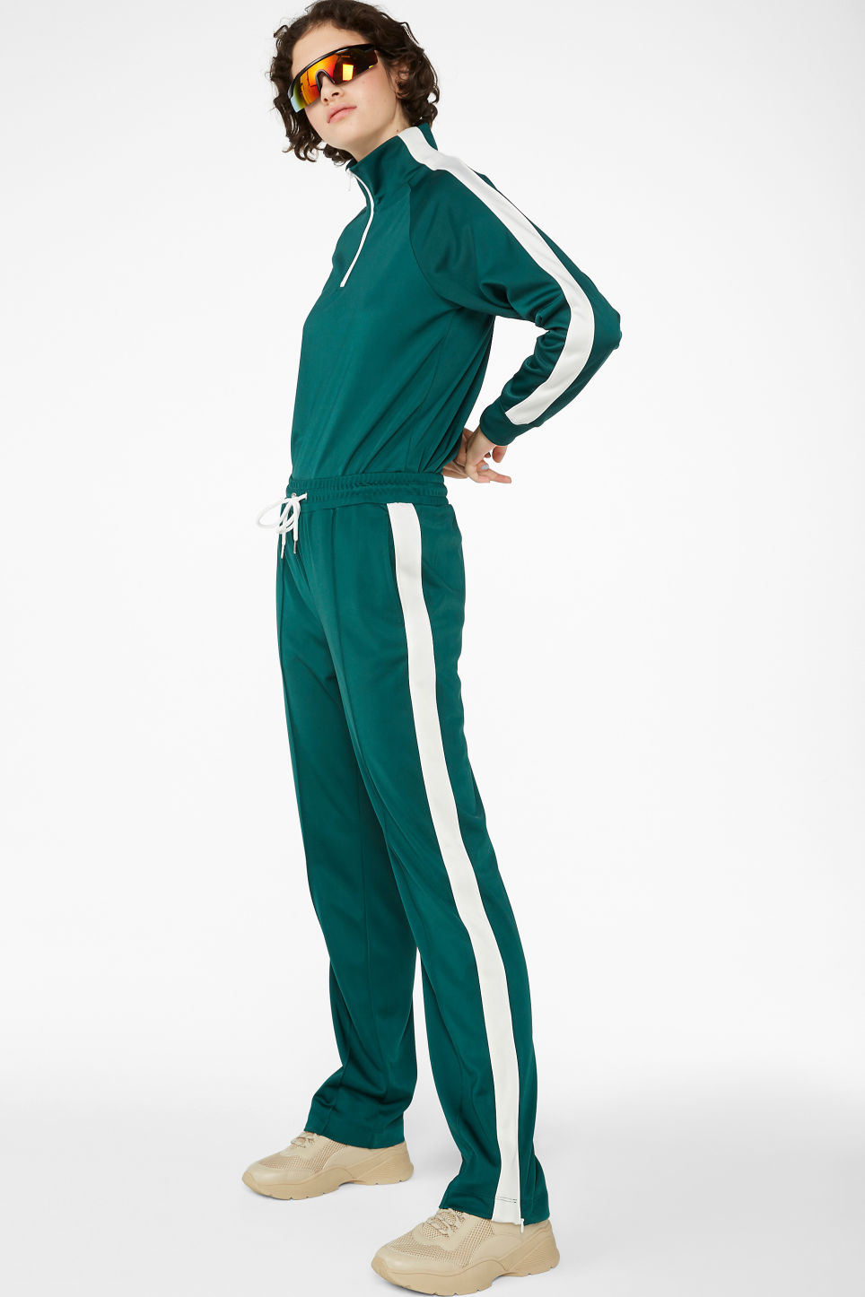 Model front image of Monki tailored track pants in green