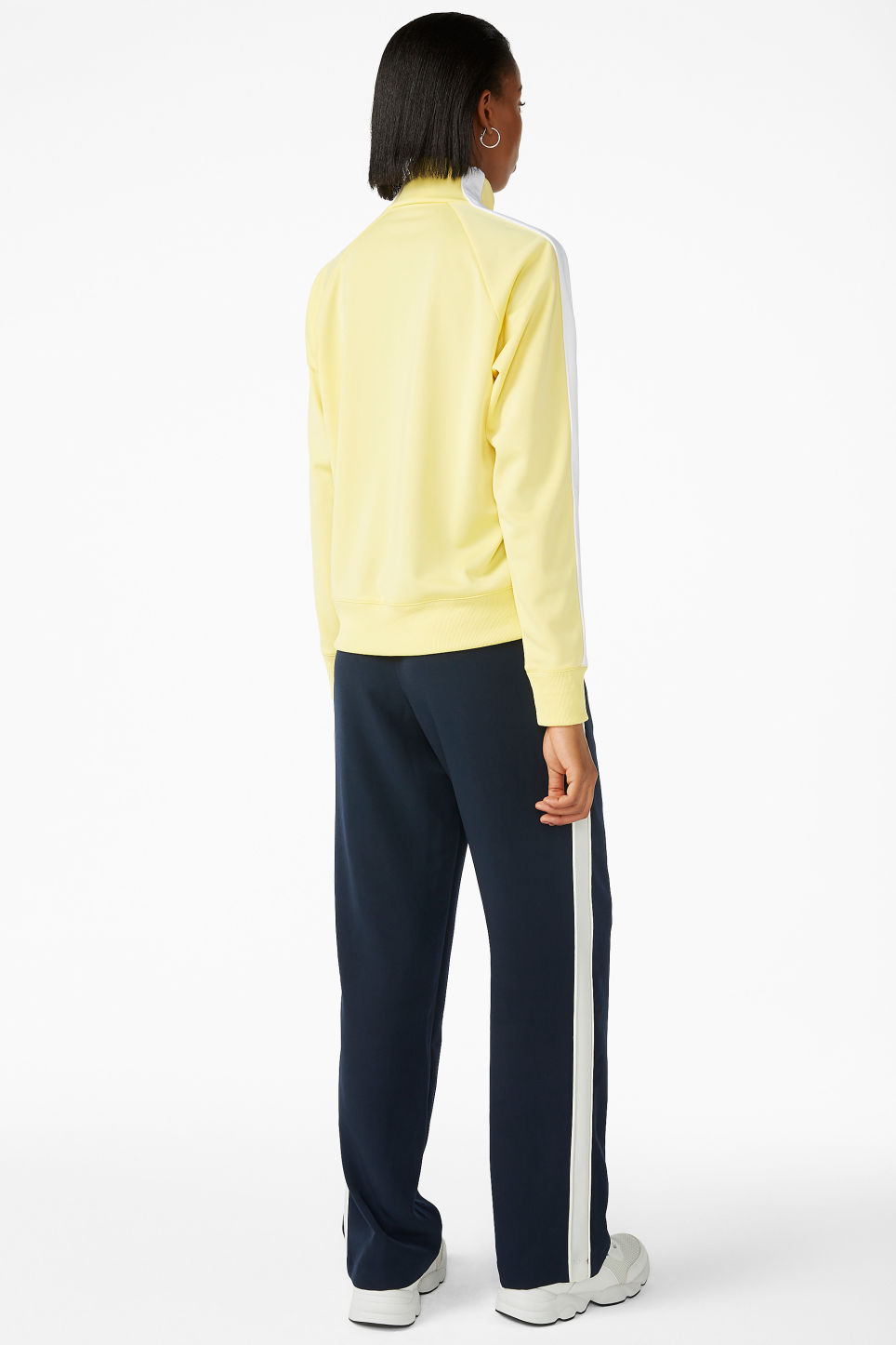 Model back image of Monki half zip tracksuit jacket  in yellow