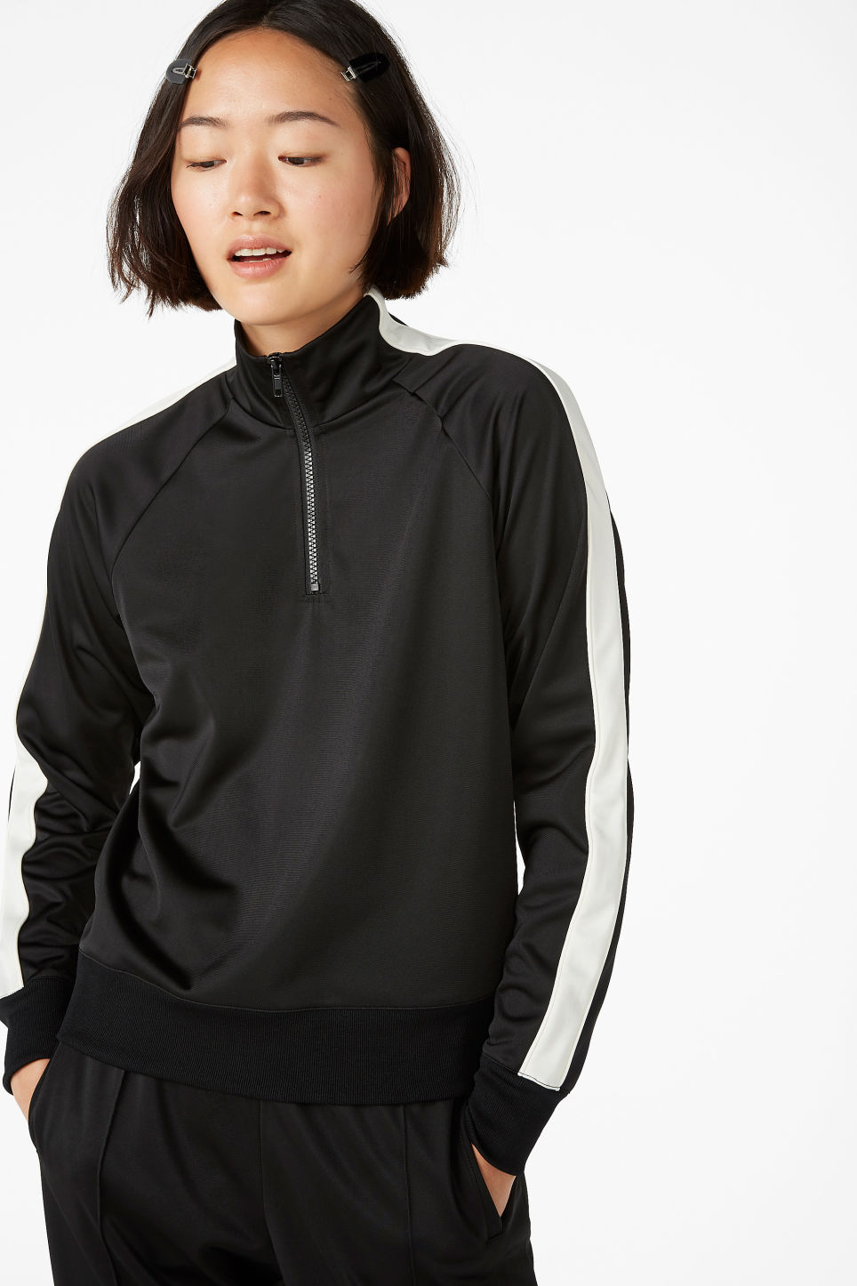 Model front image of Monki half zip tracksuit jacket  in black