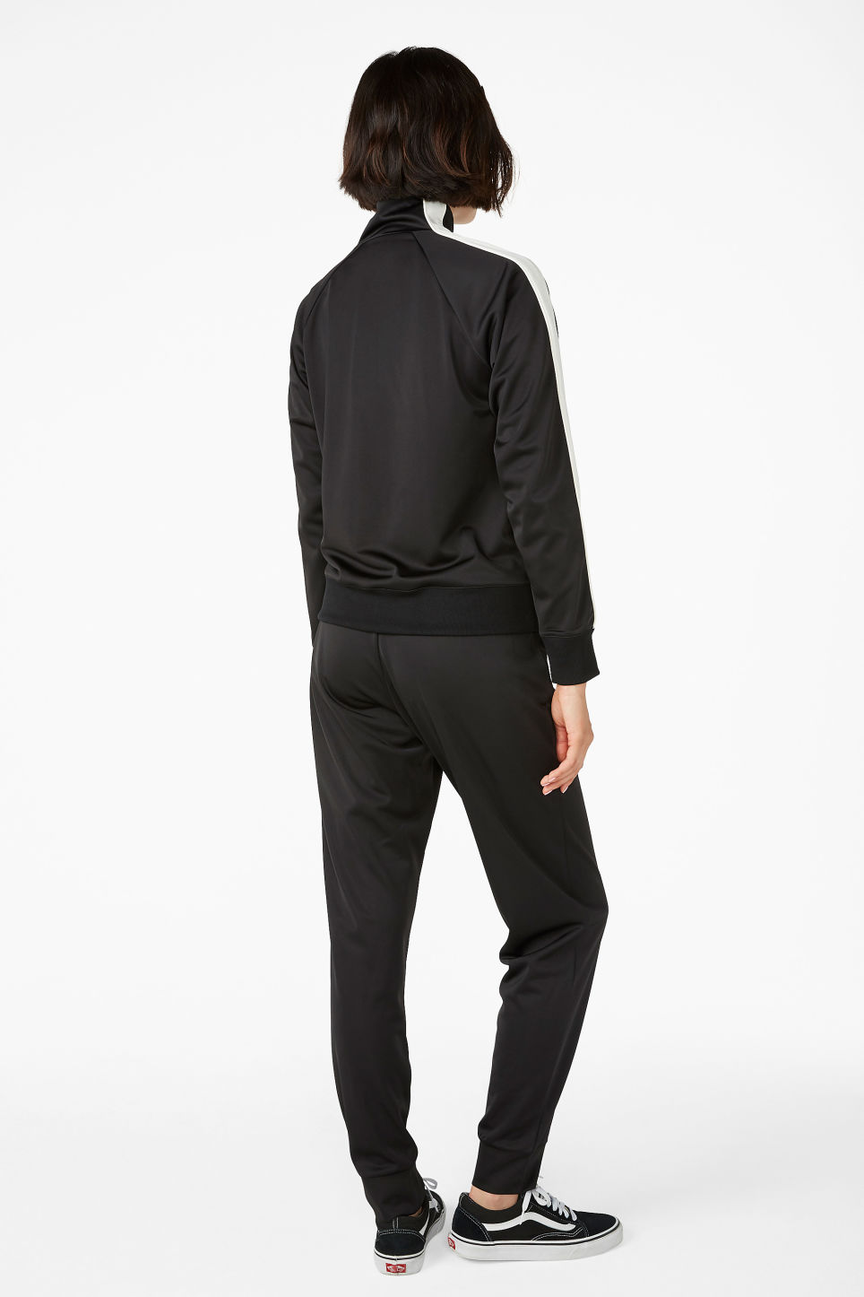 Model back image of Monki half zip tracksuit jacket  in black