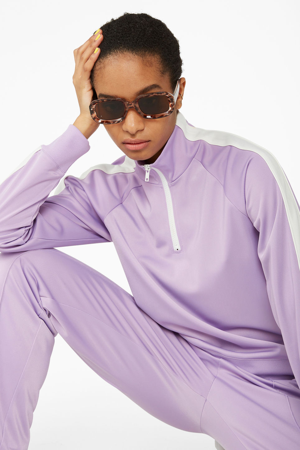 Model front image of Monki half zip tracksuit jacket  in purple