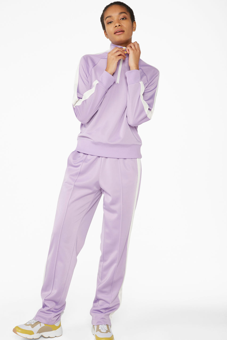 Model side image of Monki half zip tracksuit jacket  in purple