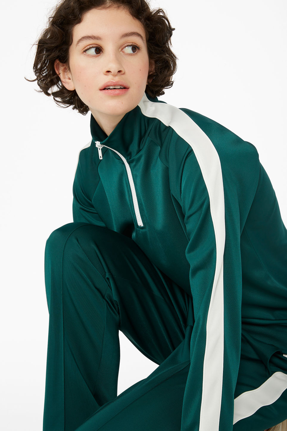 Model front image of Monki half zip tracksuit jacket  in green
