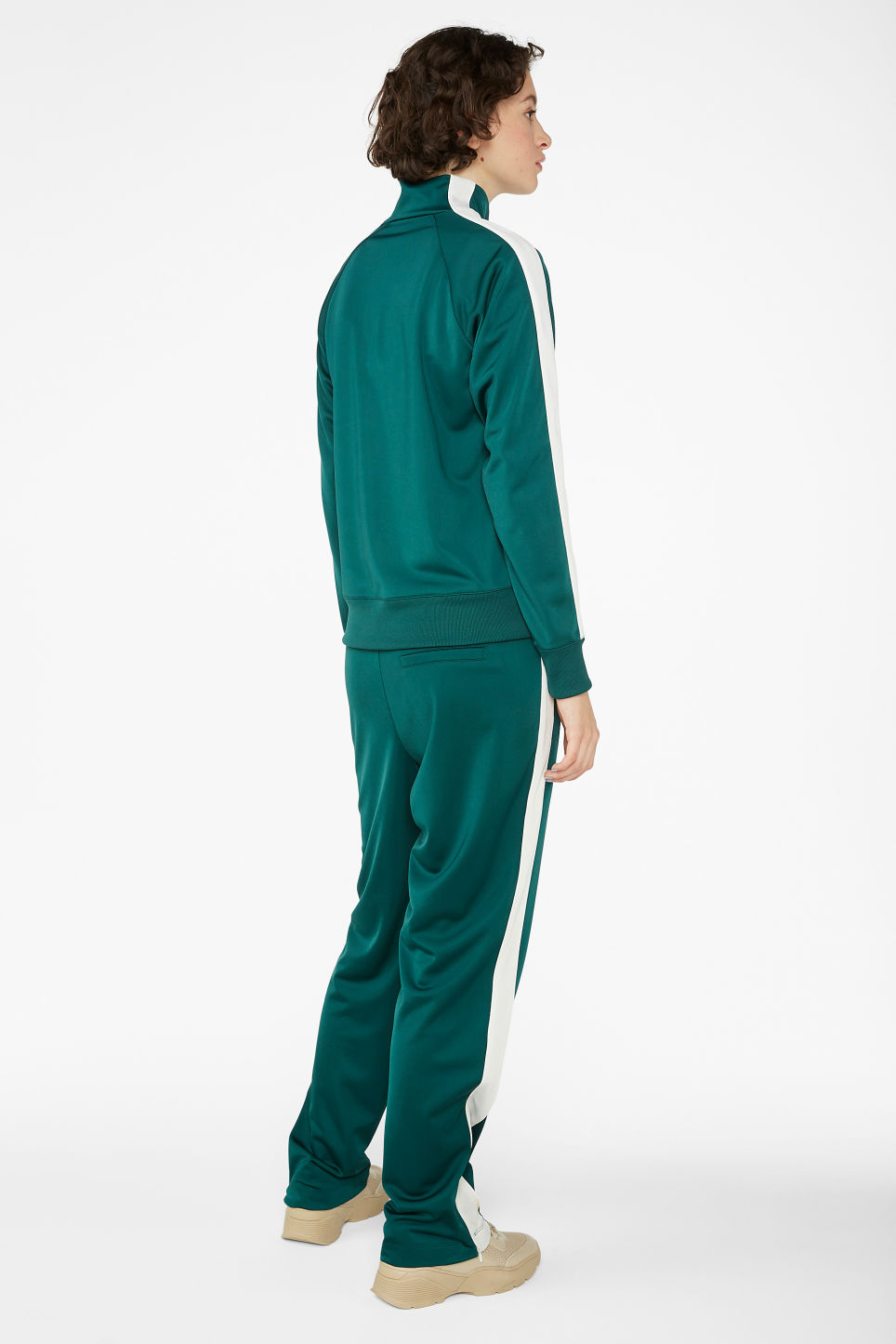 Model back image of Monki half zip tracksuit jacket  in green