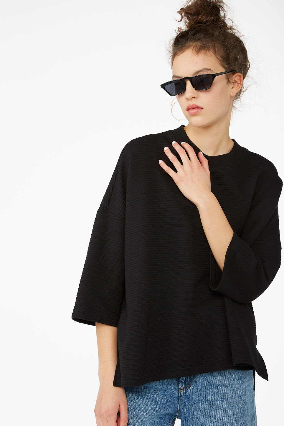Model front image of Monki raglan sweater in black