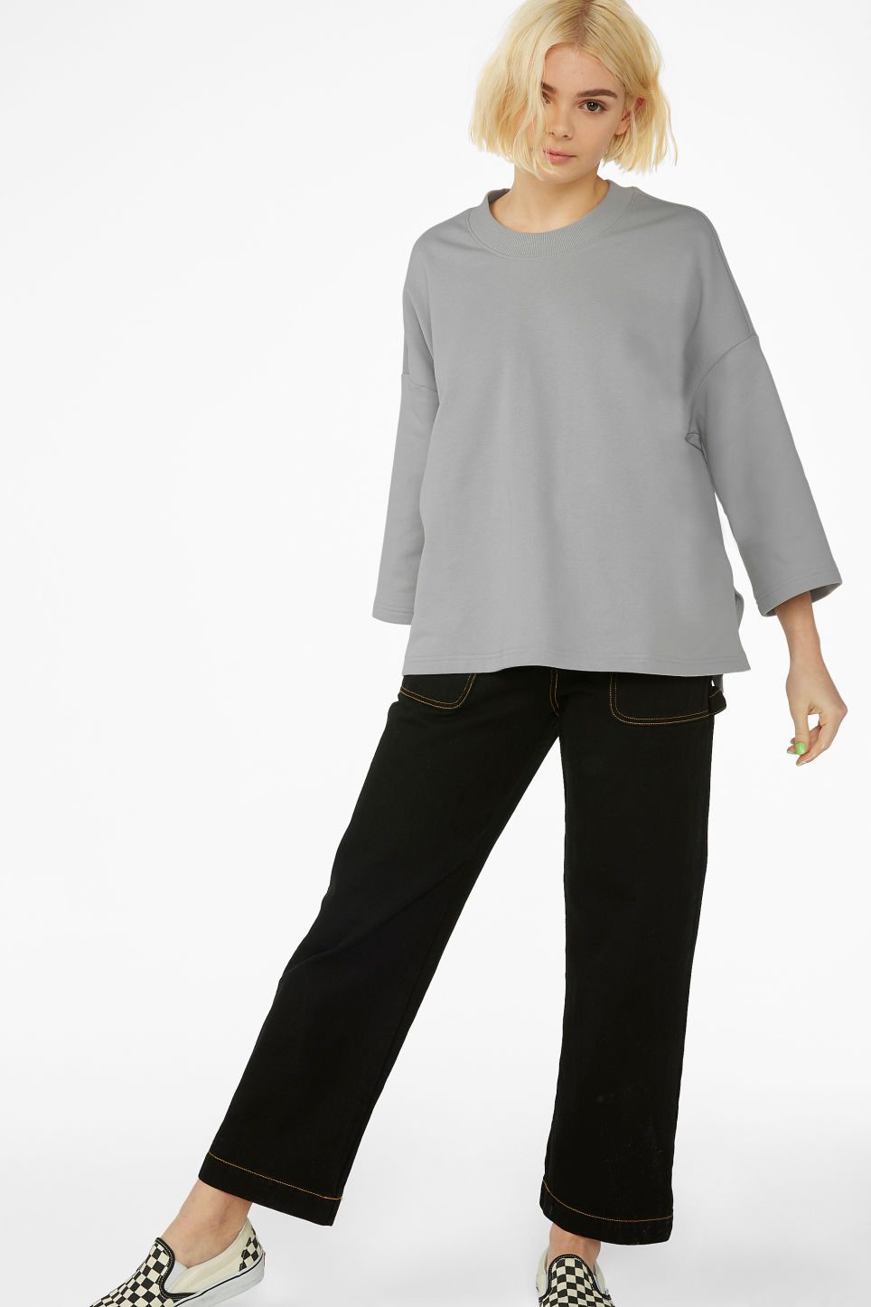 Model front image of Monki boxy sweatshirt in grey