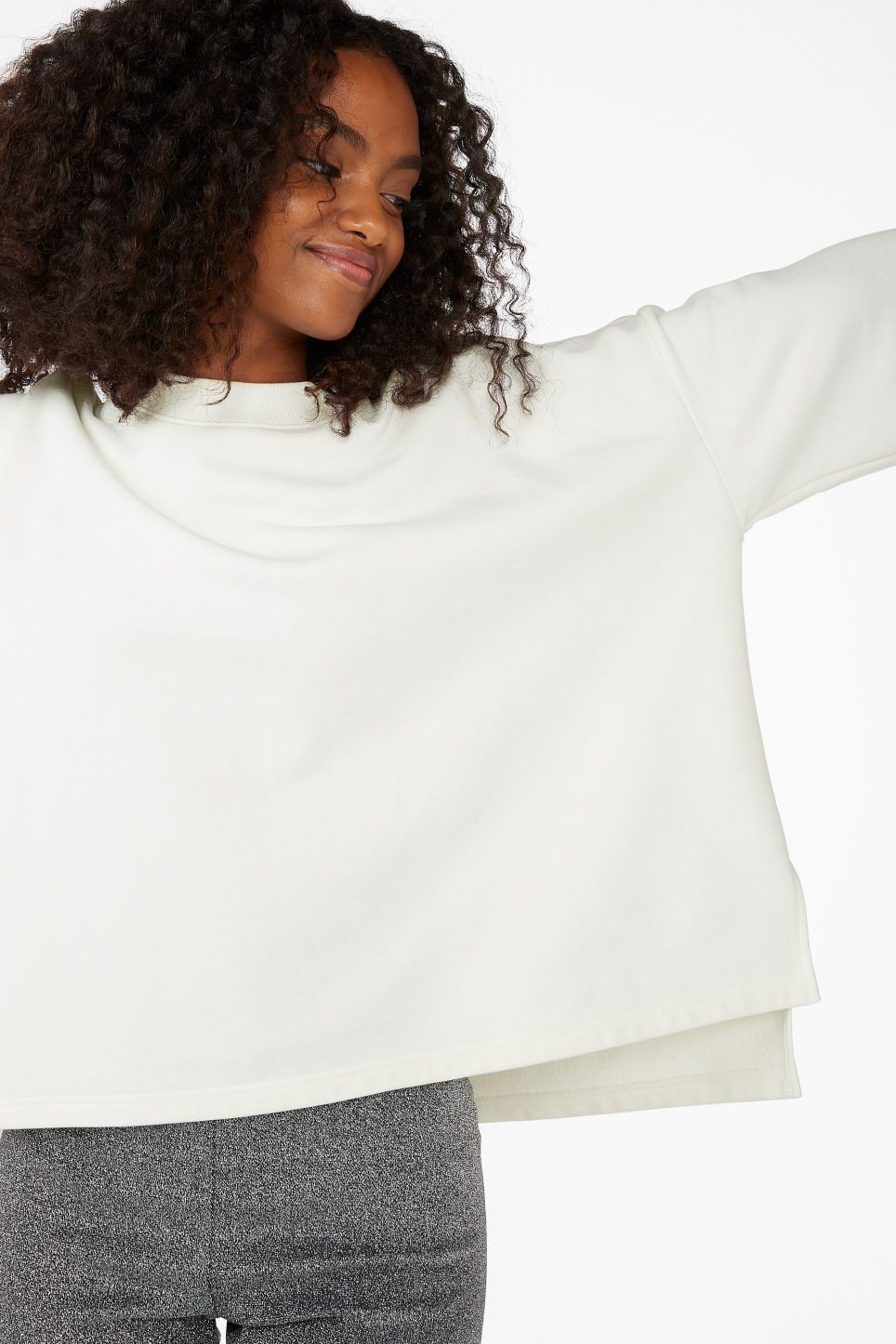 Model front image of Monki boxy sweatshirt in white