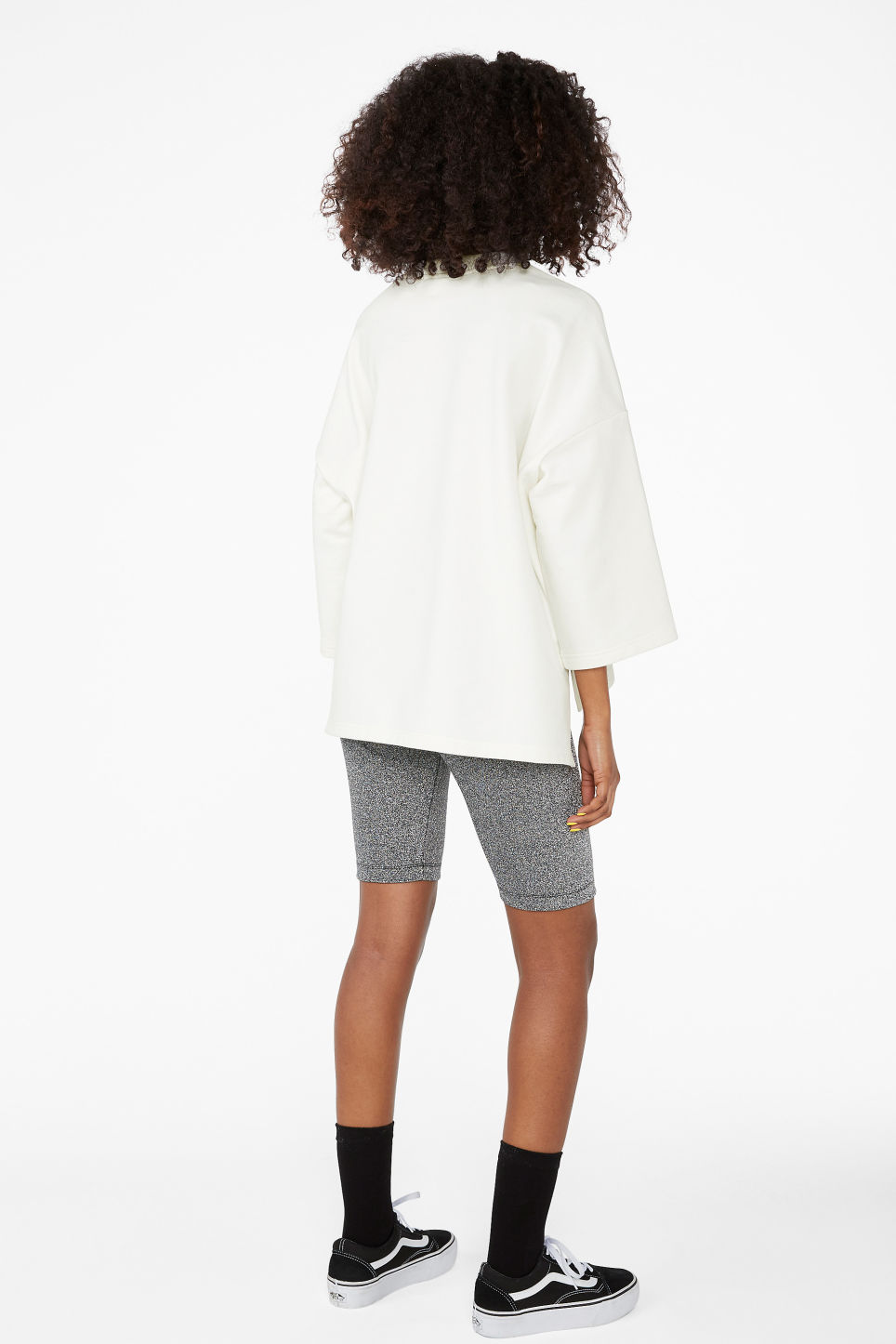 Model back image of Monki boxy sweatshirt in white