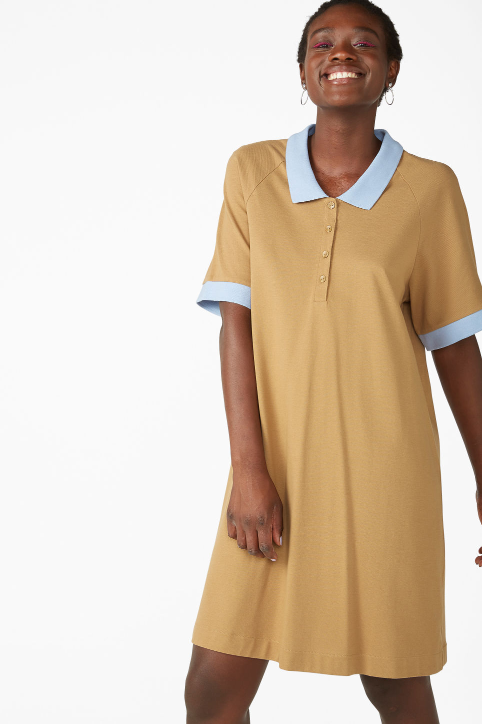 Model front image of Monki pique dress in beige
