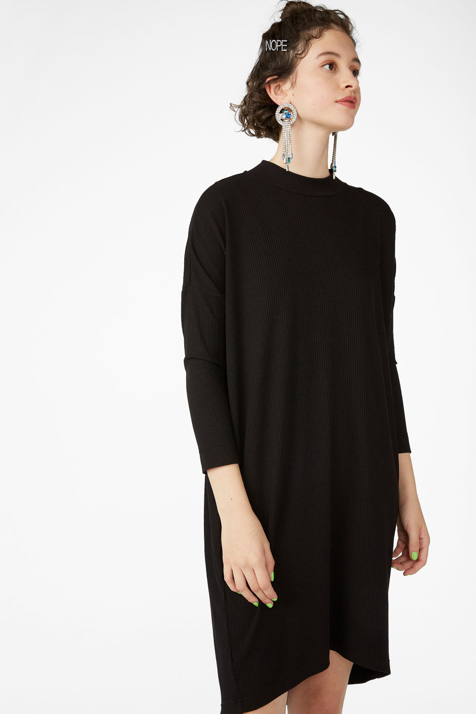 Model front image of Monki ribbed dress in black