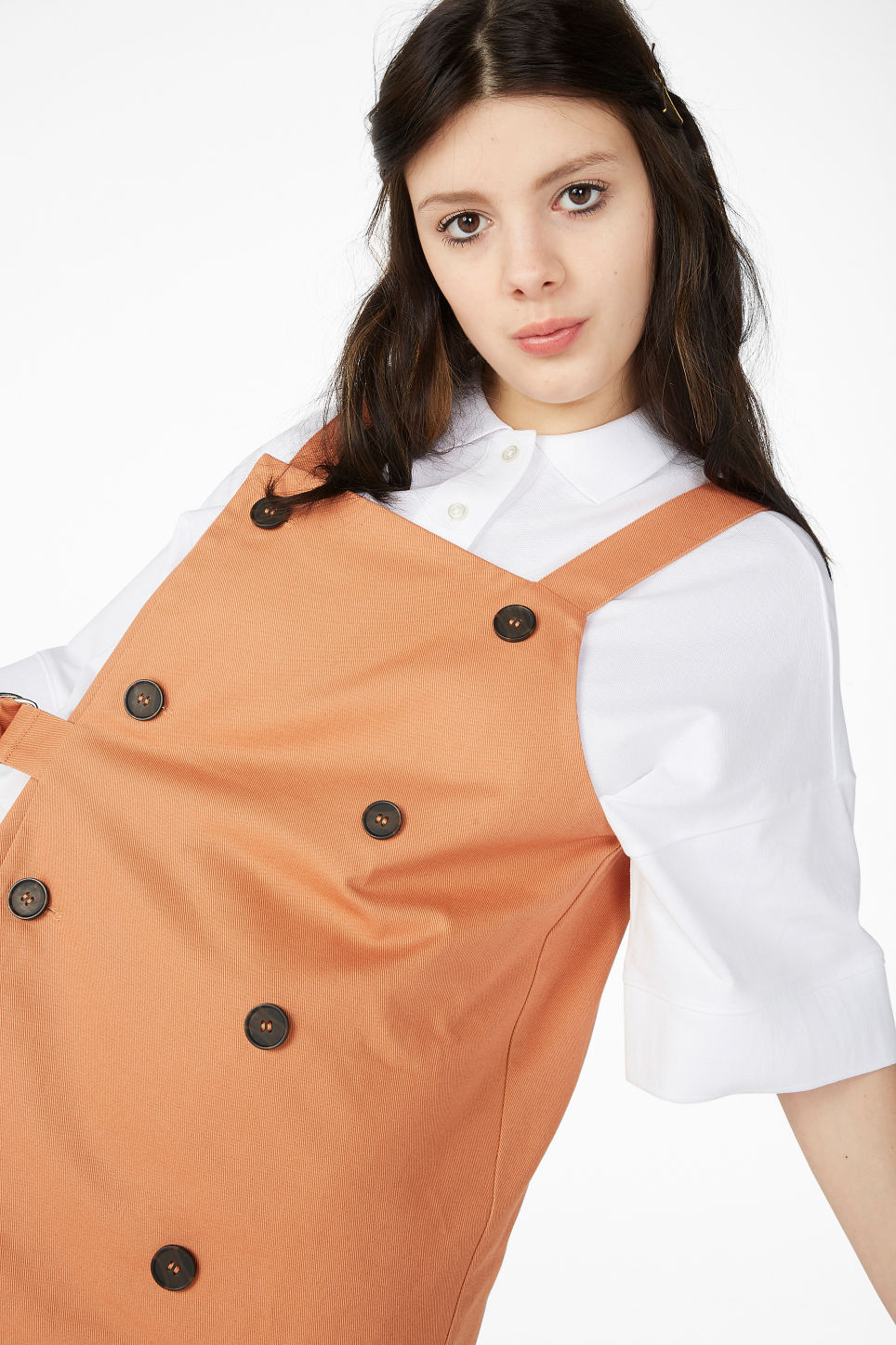 Model front image of Monki double breasted dungaree dress in orange