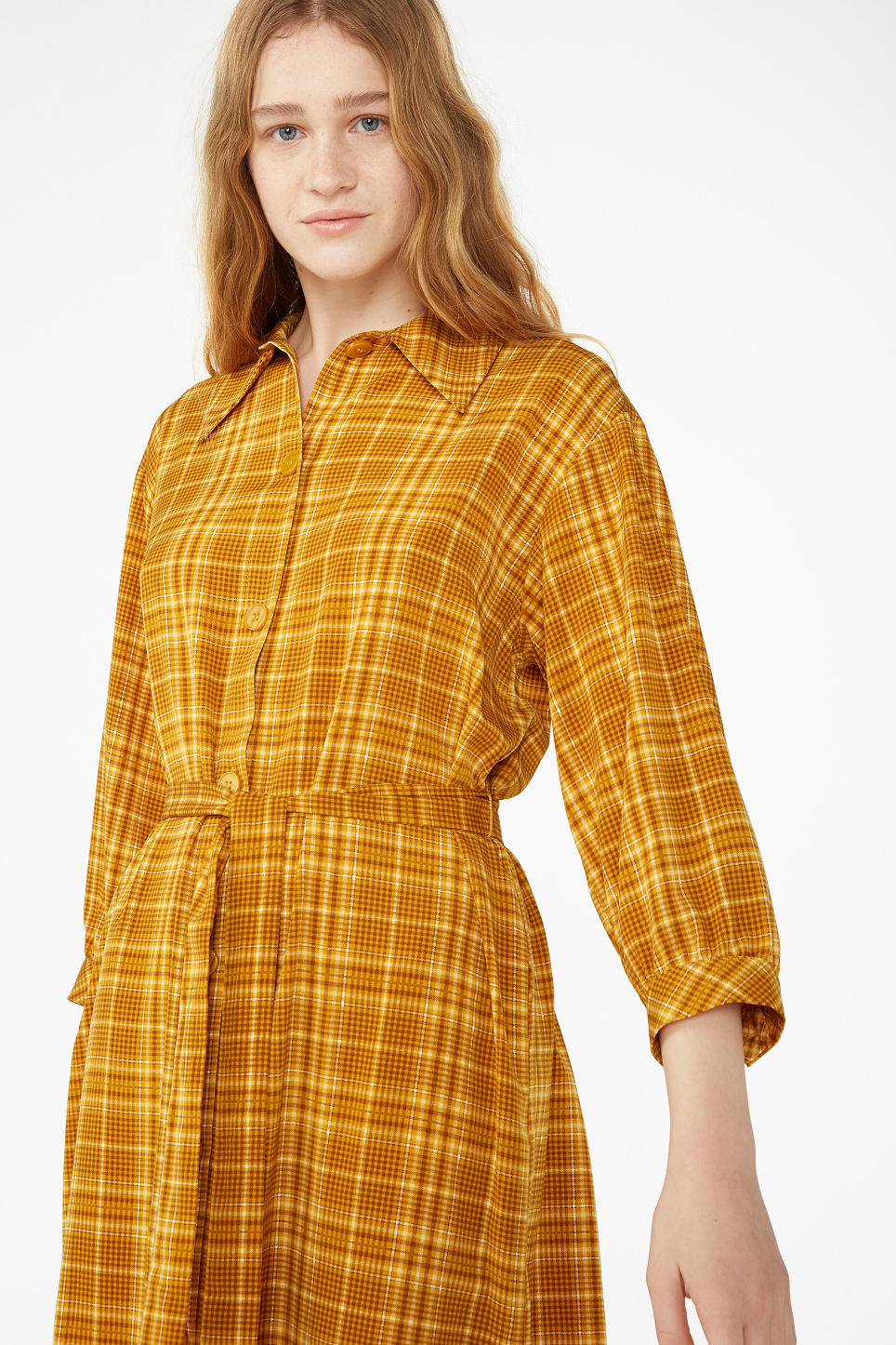 Model front image of Monki belted shirt dress in yellow