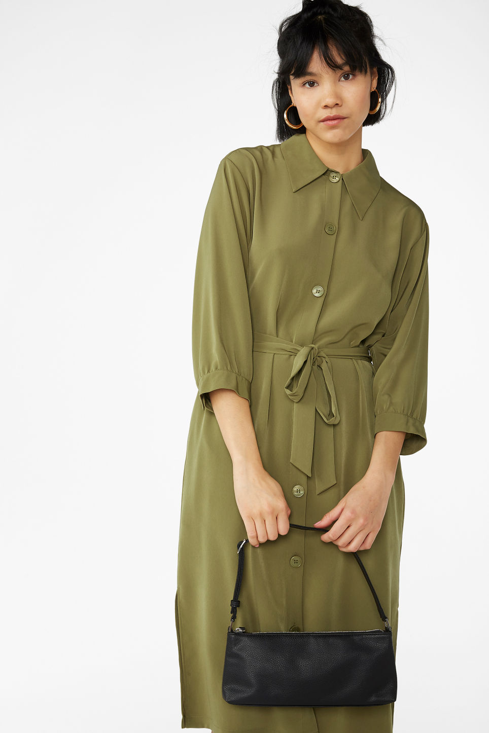 Model front image of Monki belted shirt dress in green