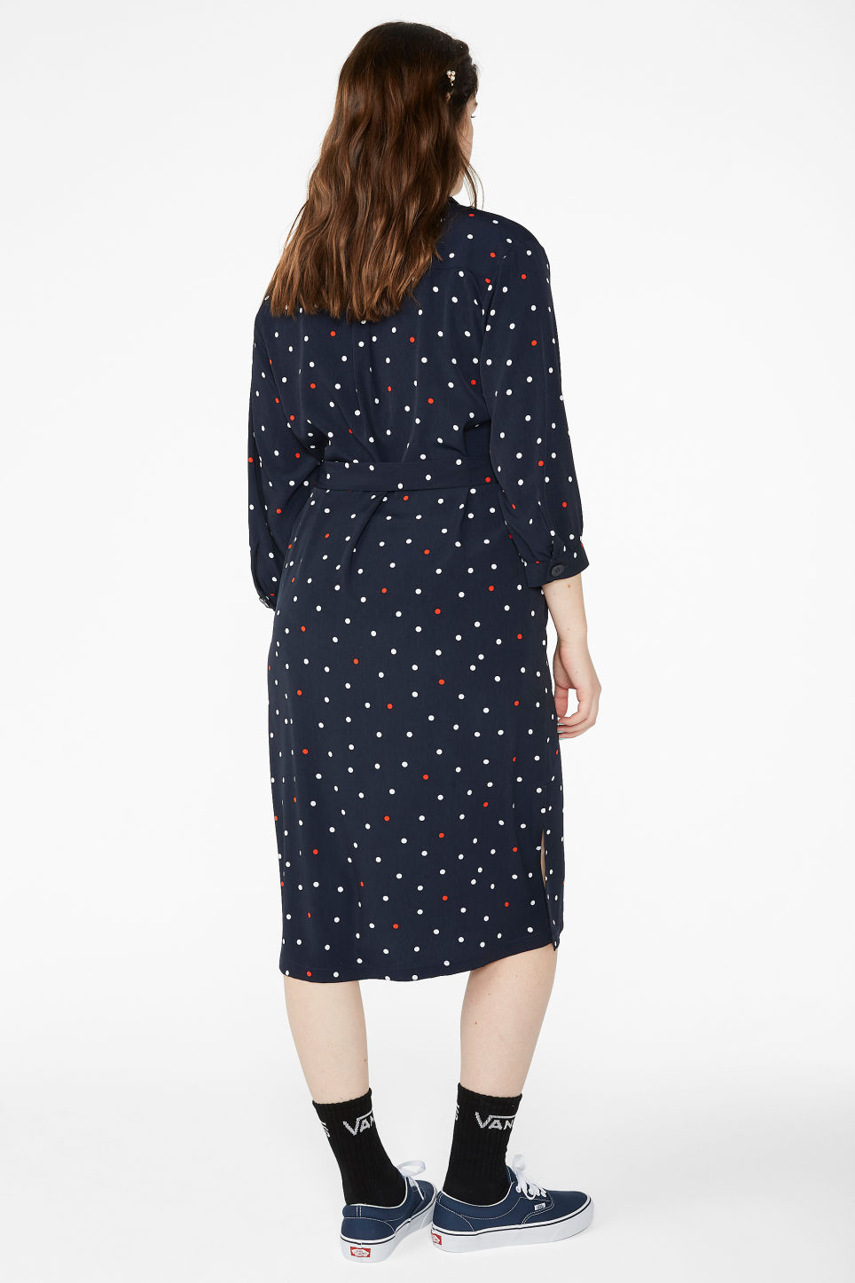 Model back image of Monki belted shirt dress in blue