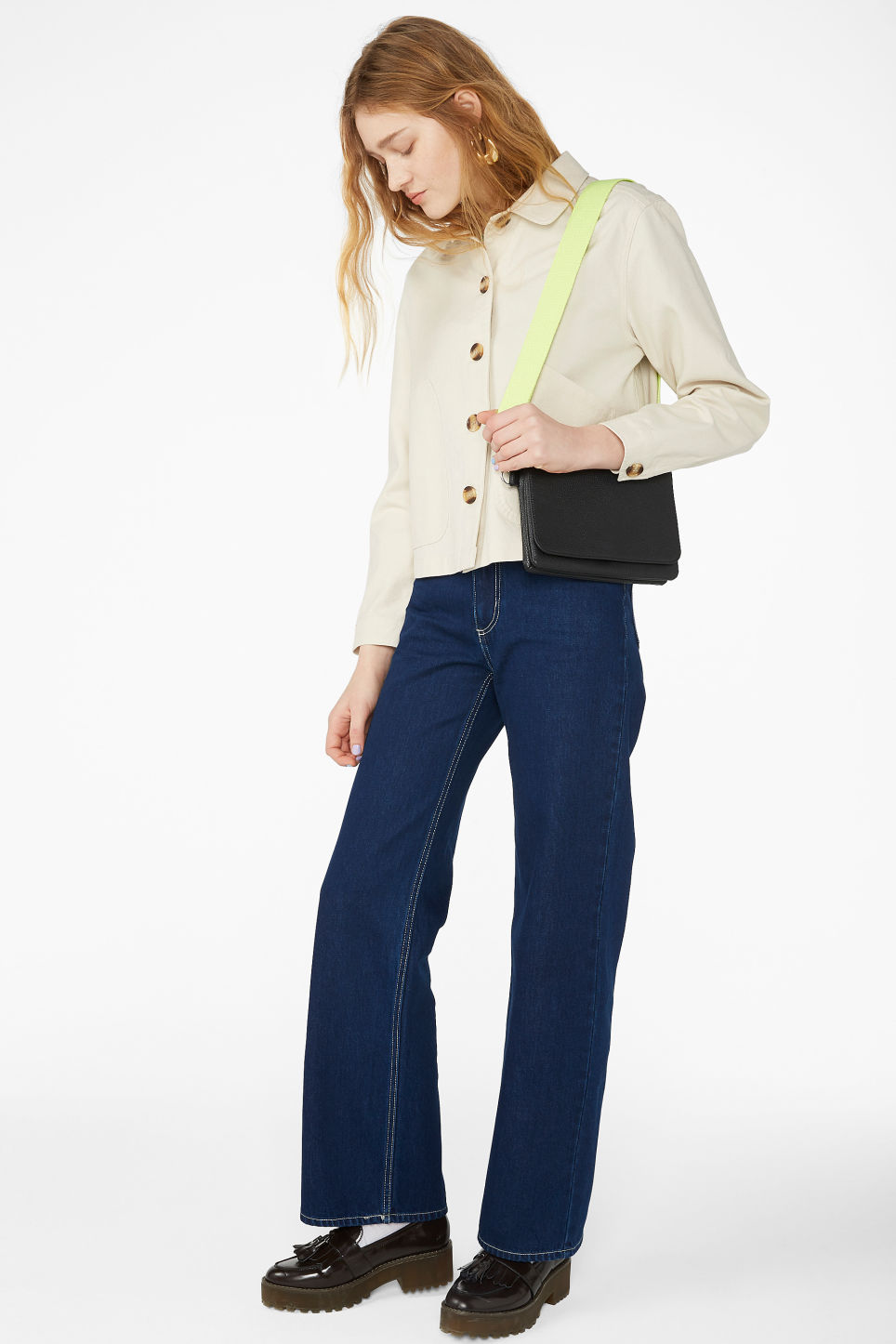 Model front image of Monki boxy utility jacket in white